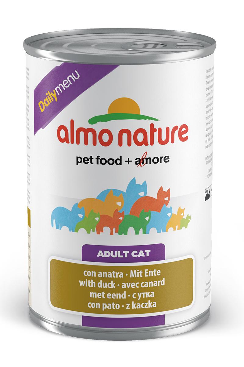 Консервы для кошек Almo Nature Daily Menu, с уткой, 400 г20353Консервы Almo Nature Daily Menu - это супер-премиум корм для кошек в банке с ключом, которая сохраняет свежесть каждого кусочка. Корм изготовлен только из свежих высококачественных натуральных ингредиентов, что обеспечивает здоровье вашей кошки. Не содержит химических, или каких-либо других искусственных ингредиентов. Состав: мясо и его производные, яйца и яичные продукты, минералы, экстракт растительного белка. Пищевые добавки: витамин A - 1415 IU/кг, витамин D3 - 150 IU/кг, витамин E - 19 мг/кг, сульфат меди пентагидрат - 3,2 мг/кг; технологические добавки: камедь кассии - 3000 мг/кг. Пищевая ценность: белки 7,5%, клетчатка 0,1%, масла и жиры 5,5%, зола 3%, влажность 81,5%. Калорийность: 814 ккал/кг. Товар сертифицирован.