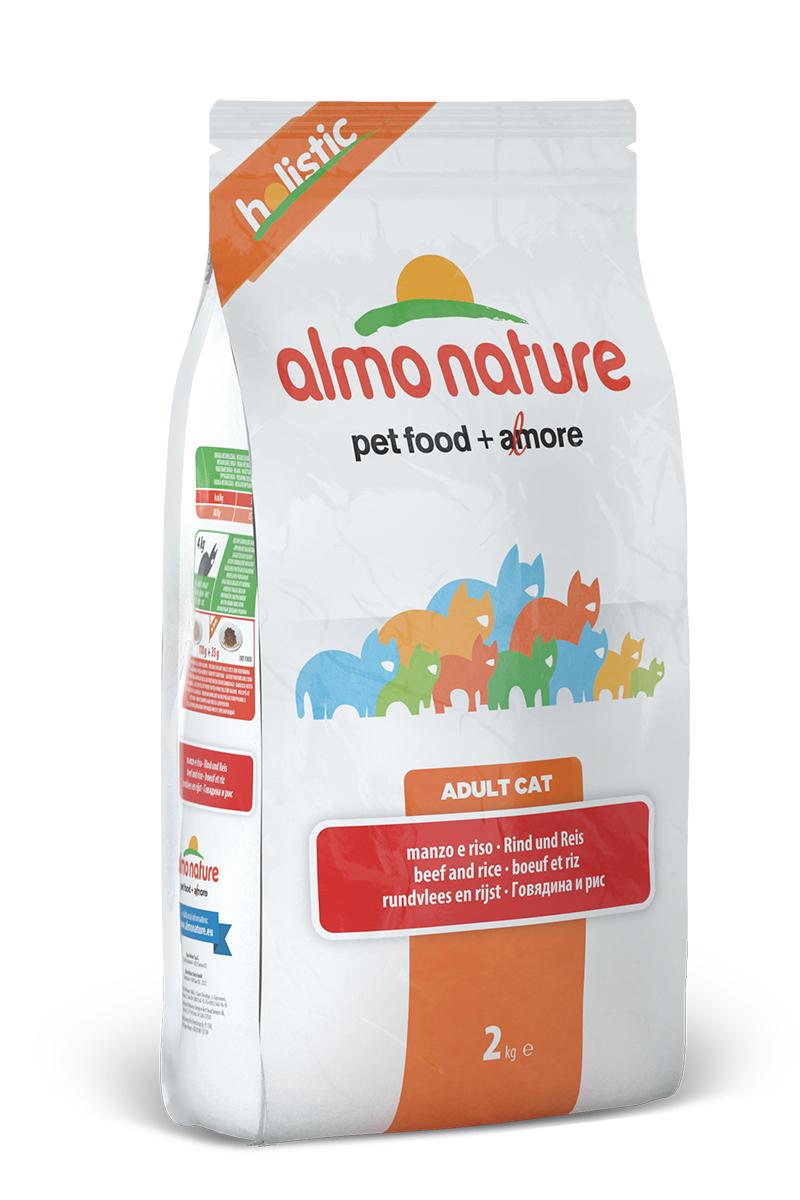 """Корм сухой Almo Nature """"Holistic"""" для взрослых кошек, с говядиной и коричневым рисом, 2 кг 20364"""