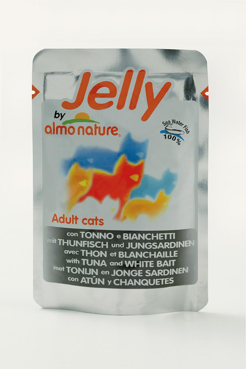 Паучи Тунец с Сардинками в Желе для кошек (Jelly Cat Tuna&White Bait), 70 г.22523Состав: тунец - 46%, молодые сардинки - 5%, рис - 0.5%, рыбный бульон в желатине (желе) - 48.5%. Гарантированный анализ: белки – 14%, клетчатка - 1%, жиры - 0.5%, зола - 2%, влажность – 85%. Калорийность: 532 ккал/кг.