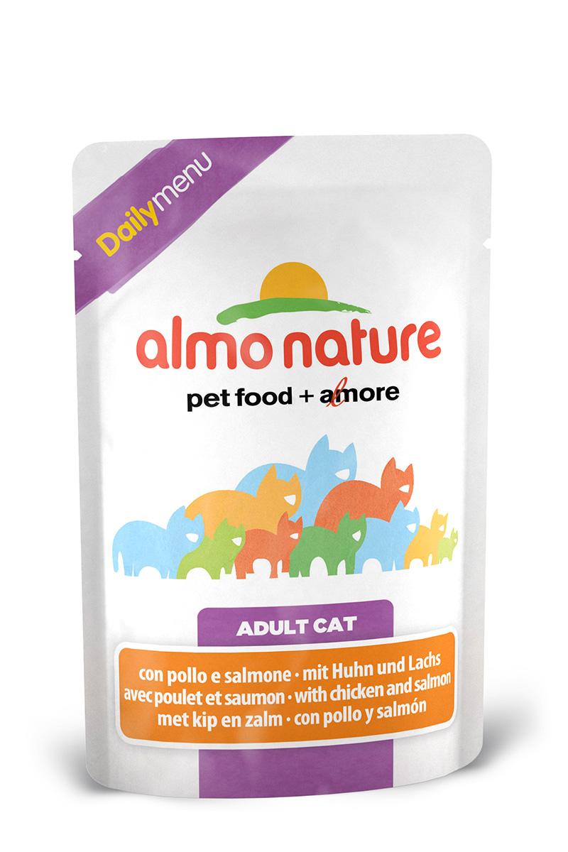 Консервы для кошек Almo Nature Daily Menu, с курицей и лососем, 70 г22524Консервы Almo Nature Daily Menu - это супер-премиум корм для кошек. Корм изготовлен только из свежих высококачественных натуральных ингредиентов, что обеспечивает здоровье вашей кошки. Не содержит химических, или каких-либо других искусственных ингредиентов. Состав: морская рыба > 6%, тунец > 4%, лосось > 4%, курица > 13%, кукурузный глютен, яйца, морковь - 1,6%, горох - 1,6%, рис - 1,4%. Гарантированный анализ: белки – 11%, клетчатка - 1%, жиры - 3%, зола - 3%, влажность – 80%. Калорийность: 710 ккал/кг. Товар сертифицирован.