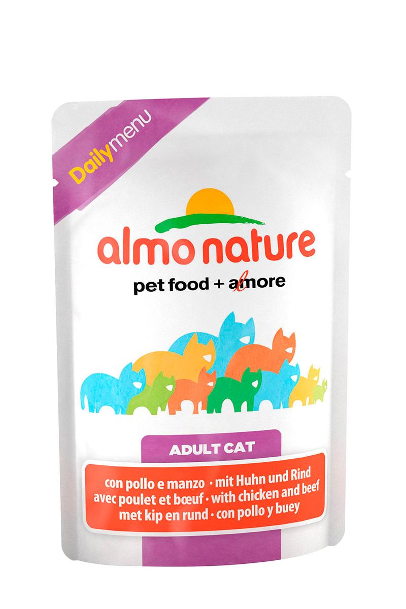 Консервы для взрослых кошек Almo Nature Daily, с курицей и говядиной, 70 г22525Консервы Almo Nature Daily - это корм, рекомендованный взрослым кошкам. Угощение изготавливается из свежих и натуральных ингредиентов, которые были упакованы сырыми, затем стерилизованы, чтобы сохранить питательные вещества и вкус. Ваш питомец будет в полном восторге. Не содержит сои, консервантов, ароматизаторов, искусственных красителей, усилителей вкуса. Состав: курица >13%, говядина >4%, морская рыба >6%, тунец >4%, кукурузный глютен, яйца, морковь -1,6%, горох - 1,6%, рис - 1,4%. Гарантированный анализ: белки – 11%, клетчатка - 1%, жиры - 3%, зола - 3%, влажность – 80%. Товар сертифицирован.