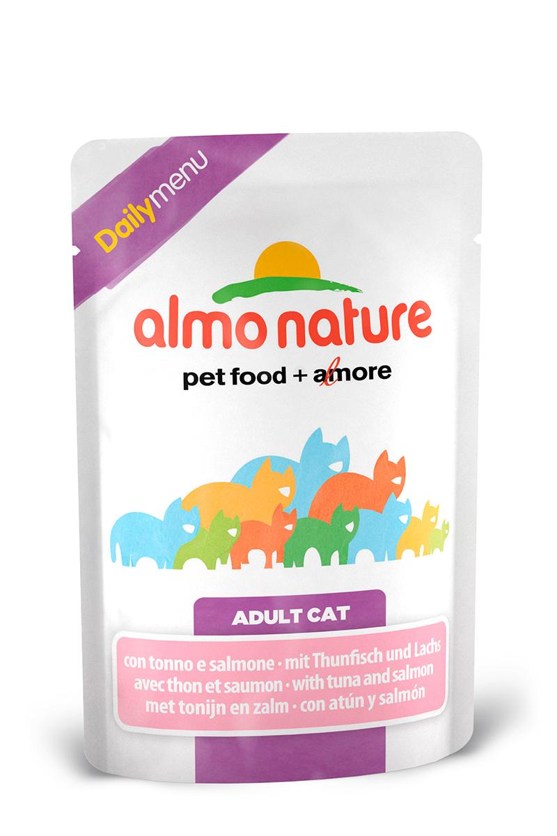 Консервы для взрослых кошек Almo Nature Daily, с тунцом и лососем, 70 г22526Консервы Almo Nature Daily - это корм, рекомендованный взрослым кошкам. Угощение изготавливается из свежих и натуральных ингредиентов, которые были упакованы сырыми, затем стерилизованы, чтобы сохранить питательные вещества и вкус. Ваш питомец будет в полном восторге. Не содержит сои, консервантов, ароматизаторов, искусственных красителей, усилителей вкуса. Состав: тунец >9%, морская рыба >7%, лосось >4%, курица >7%, кукурузный глютен, яйца, морковь -1,6%, горох - 1,6%, рис - 1,4%. Гарантированный анализ: белки – 11%, клетчатка - 1%, жиры - 3%, зола - 3%, влажность – 80%. Товар сертифицирован.