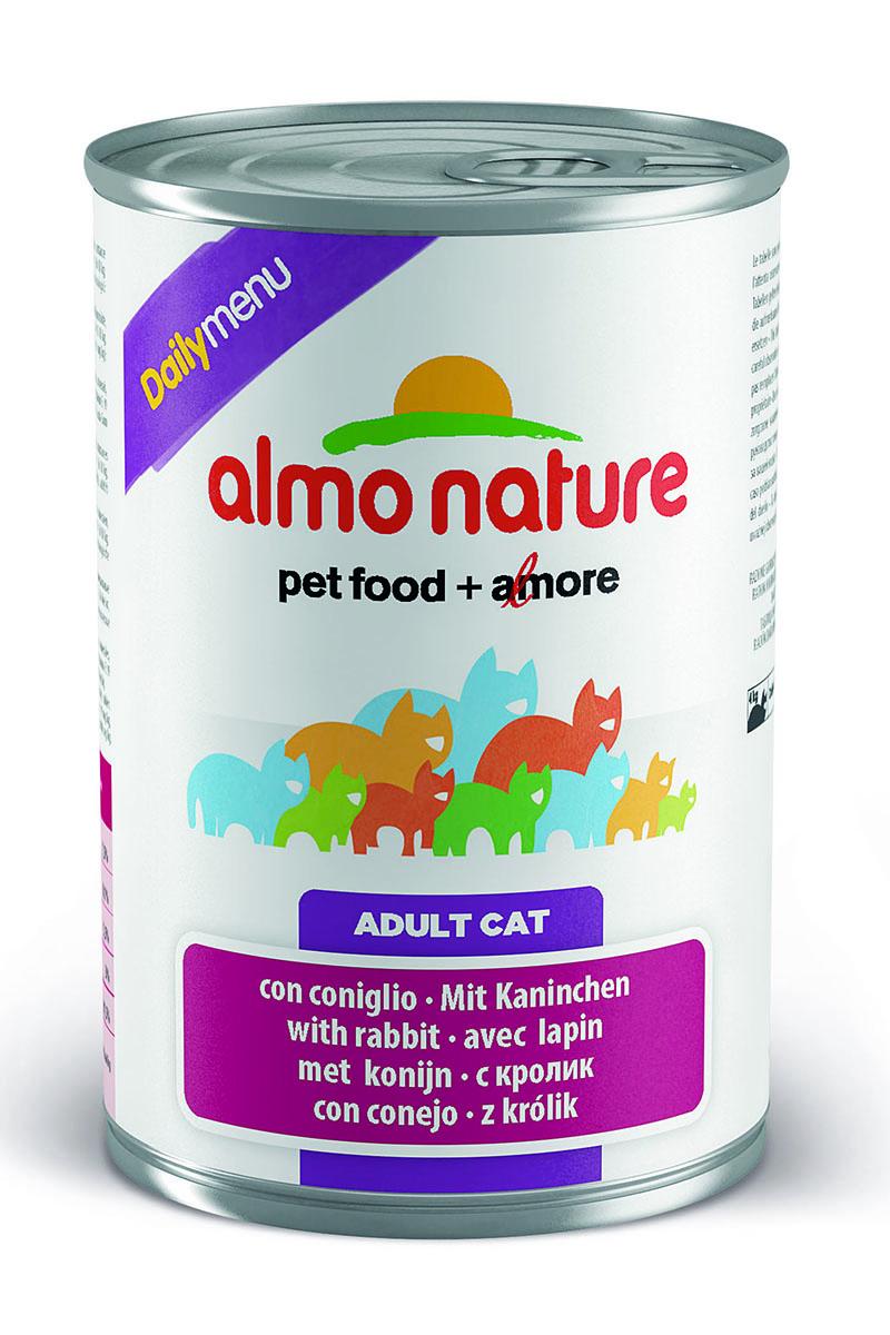 Консервы для кошек Almo Nature Daily Menu, с кроликом, 400 г24068Консервы Almo Nature Daily Menu - это супер-премиум корм для кошек в банке с ключом, которая сохраняет свежесть каждого кусочка. Корм изготовлен только из свежих высококачественных натуральных ингредиентов, что обеспечивает здоровье вашей кошки. Не содержит химических, или каких-либо других искусственных ингредиентов. Состав: мясо и его производные, яйца и яичные продукты, минералы, сахар. Добавки: витамин A 1.415 UI/kg, витамин D3 3150 UI/kg, витамин E 19 мг/кг, сульфат меди пентагидрат 3,2 мг/кг (Cu 0,8 мг/кг). Технологические добавки: камедь кассии 3000 мг/кг. Пищевая ценность: белки 7,5%, клетчатка 0,1%, жиры 5,5%, зола 3%, влажность 81.5%. Калорийность: 814ккал/кг. Калорийность: 814 ккал/кг. Товар сертифицирован.