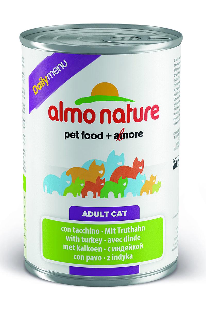 Консервы для кошек Almo Nature Daily Menu, с индейкой, 400 г24070Консервы Almo Nature Daily Menu - это супер-премиум корм для кошек в банке с ключом, которая сохраняет свежесть каждого кусочка. Корм изготовлен только из свежих высококачественных натуральных ингредиентов, что обеспечивает здоровье вашей кошки. Не содержит химических, или каких-либо других искусственных ингредиентов. Состав: мясо и его производные, яйца, минералы, сахар. Пищевые добавки: витамин А - 1415 МЕ/кг, витамин D3 - 3150 МЕ/кг, витамин Е - 3,2 мг/кг, сульфат меди пентагидрат - 3,2 мг/кг (CU 0.8 мг/кг), камедь кассии - 3000 мг/кг. Гарантированные анализ: белки - 7,5%, клетчатка - 0,1%, жиры - 5,5%, зола - 3%, влага - 81,5%. Калорийность - 814 ккал/кг. Товар сертифицирован.
