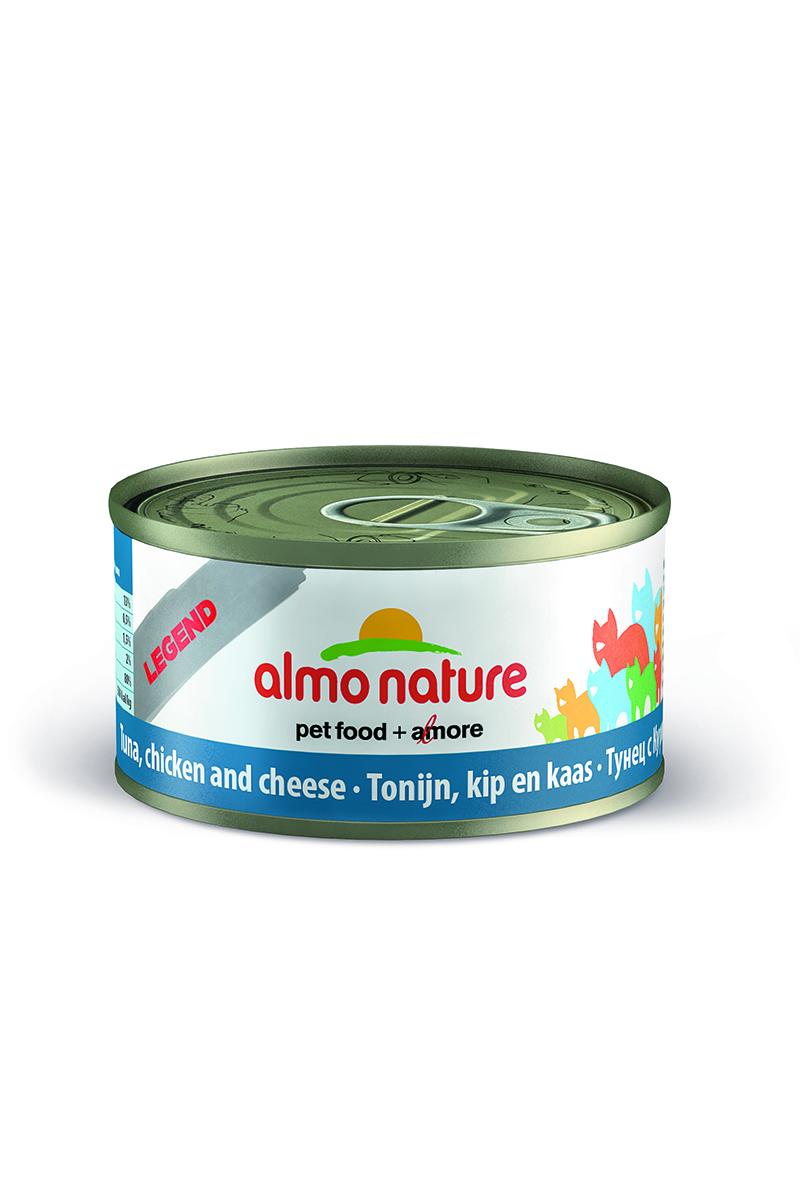 New Консервы для Кошек с Тунцом, Курицей и Сыром (Legend Adult CatTuna, Chicken&Cheese), 70 г.24173Состав: тунец 35%, курица 35%, рыбный бульон 24%, сыр 5%, рис 1%. Пищевая ценность: белки 17%, клетчатка 0.1%, масла и жиры 2%, зола 3%, влажность 75%. Калорийность 765 ккал/кг.
