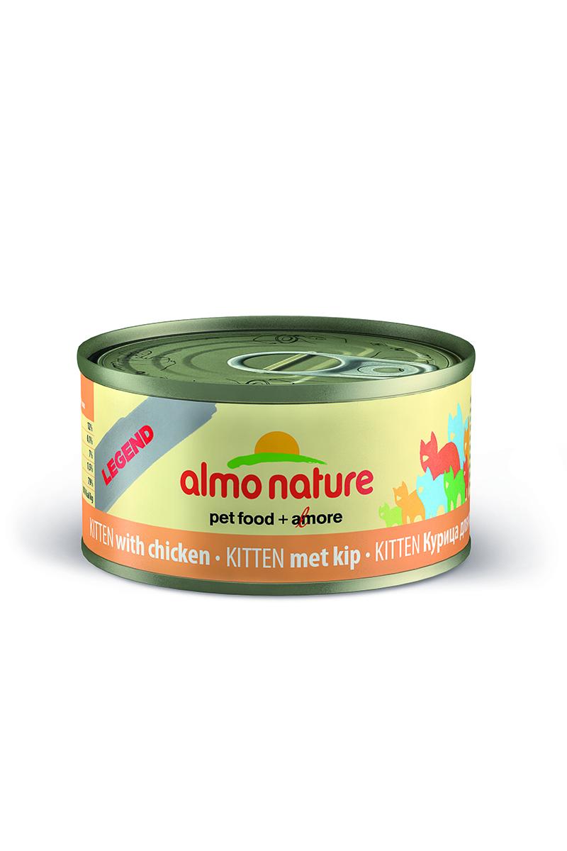 Консервы для котят Almo Nature Legend, с курицей, 70 г25000Консервы Almo Nature Legend - сбалансированный влажный корм для котят, изготовленный из ингредиентов высшего качества, являющихся натуральными источниками витаминов и питательных веществ. Консервы Almo Nature Legend изготавливаются по уникальной технологии, в процессе которой мясные ингредиенты упаковываются в свежем сыром виде, затем проходят термическую обработку прямо в упаковке, что позволяет сохранить все питательные вещества и прекрасный вкус и аромат. Состав: мясо курицы 75%, куриный бульон 24%, рис 1%. Пищевая ценность: белки - 19%, клетчатка - 1%, жиры - 1%, зола - 2%, влажность - 78%. Калорийность: 750 ккал/кг. Товар сертифицирован.