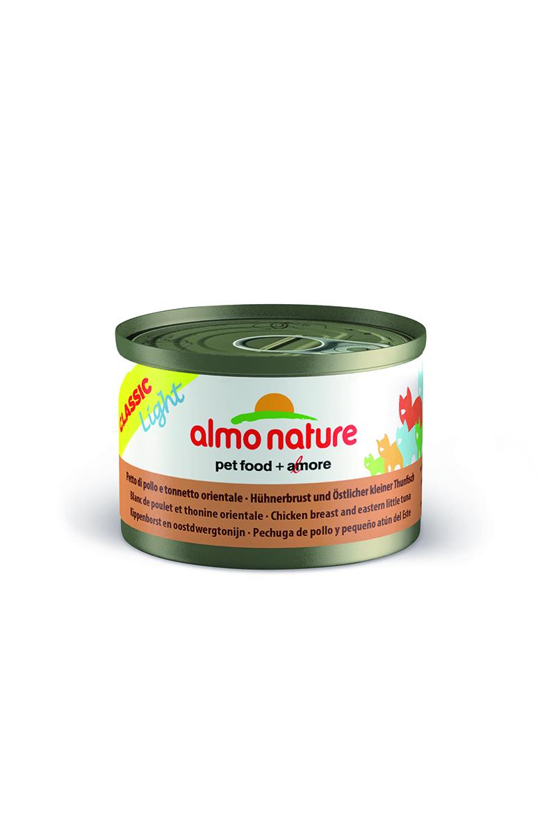 Консервы для кошек Almo Nature Classic, низкокалорийные, с куриной грудкой и пятнистым Индо-Тихоокеанским тунцом, 50 г х 3 шт25025Низкокалорийные консервы для кошек Almo Nature Classic содержат 75-55% высококачественного мяса, приготовленного в собственном бульоне (24%) - именно такой простой и естественный состав привлекает кошек. Механическая обработка продуктов, с большой осторожностью, без применения химикатов во избежание потери питательных веществ. Без добавок, будь то химические или какие-либо другие ингредиенты, тем не менее - излюбленный всеми кошками продукт, за свою простоту и подлинность. Состав: свежее филе куриной грудки - 25%, филе пятнистого Индо-Тихоокеанского тунца - 25%, куриный бульон - 47%, рис - 3%. Гарантированный анализ: белки – 17%, клетчатка – 1%, жиры – 0,5%, зола – 3%, влага - 81%. Калорийность – 637 ккал/кг. Товар сертифицирован.