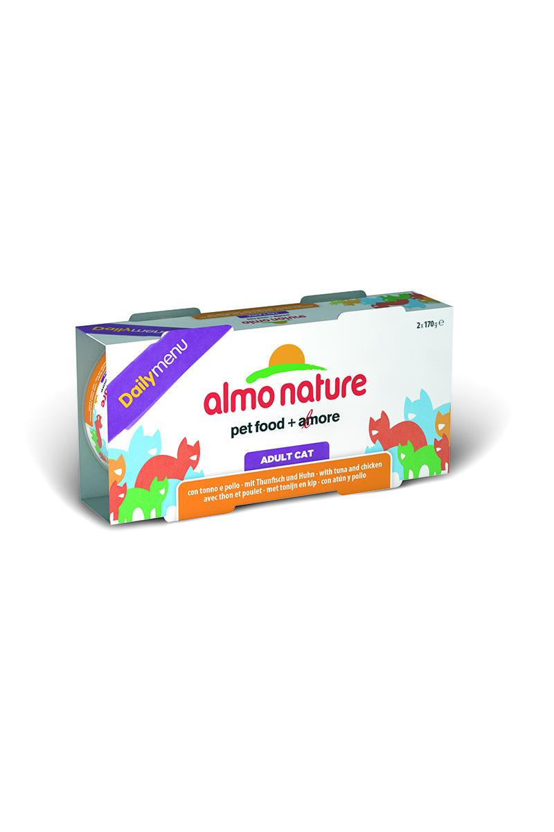 Консервы для кошек Almo Nature Daily menu, с тунцом и курицей, 170 г х 2 шт25029Консервы Almo Nature Daily Menu - это супер-премиум корм для кошек в банке с ключом, которая сохраняет свежесть каждого кусочка. Корм изготовлен только из свежих высококачественных натуральных ингредиентов, что обеспечивает здоровье вашей кошки. Не содержит химических, или каких-либо других искусственных ингредиентов. Состав: тунец - 31%, курица - 30%, рис - 5%. Пищевые добавки: витамин А - 107,33 МЕ/кг, витамин Е - 9,8 мг/кг. Технологические добавки: экстракт кассия - 2450 мг/кг. Гарантированный анализ: белки -13%, клетчатка – 0,1%, жиры – 6%, зола – 2%, влага – 75%. Товар сертифицирован.