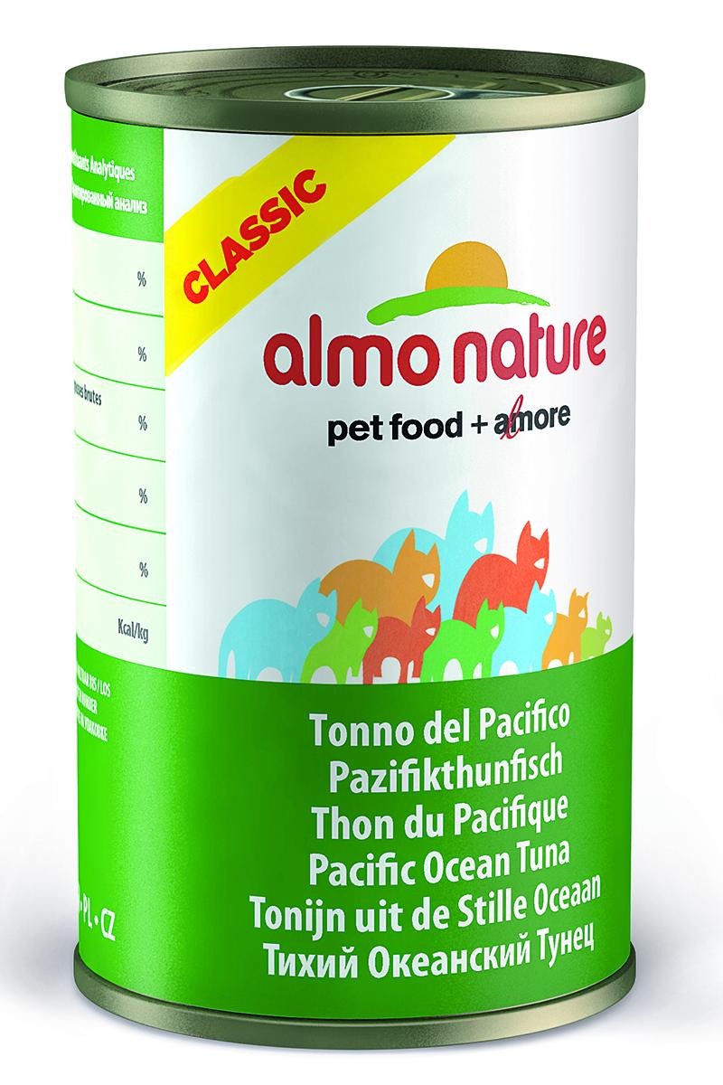 Консервы для кошек Almo Natureс Classic, с тихоокеанским тунцом, 140 г25039Консервы Almo Nature Classic - сбалансированный влажный корм для кошек, изготовленный из ингредиентов высшего качества, являющихся натуральными источниками витаминов и питательных веществ. Состав: тихоокеанский тунец – 55%, рыбный бульон – 24%, рис – 1%. Гарантированный анализ: белки – 20%, клетчатка – 0,1%, жиры – 0,5%, зола – 2%, влажность – 77%. Калорийность - 742 ккал/кг. Товар сертифицирован.