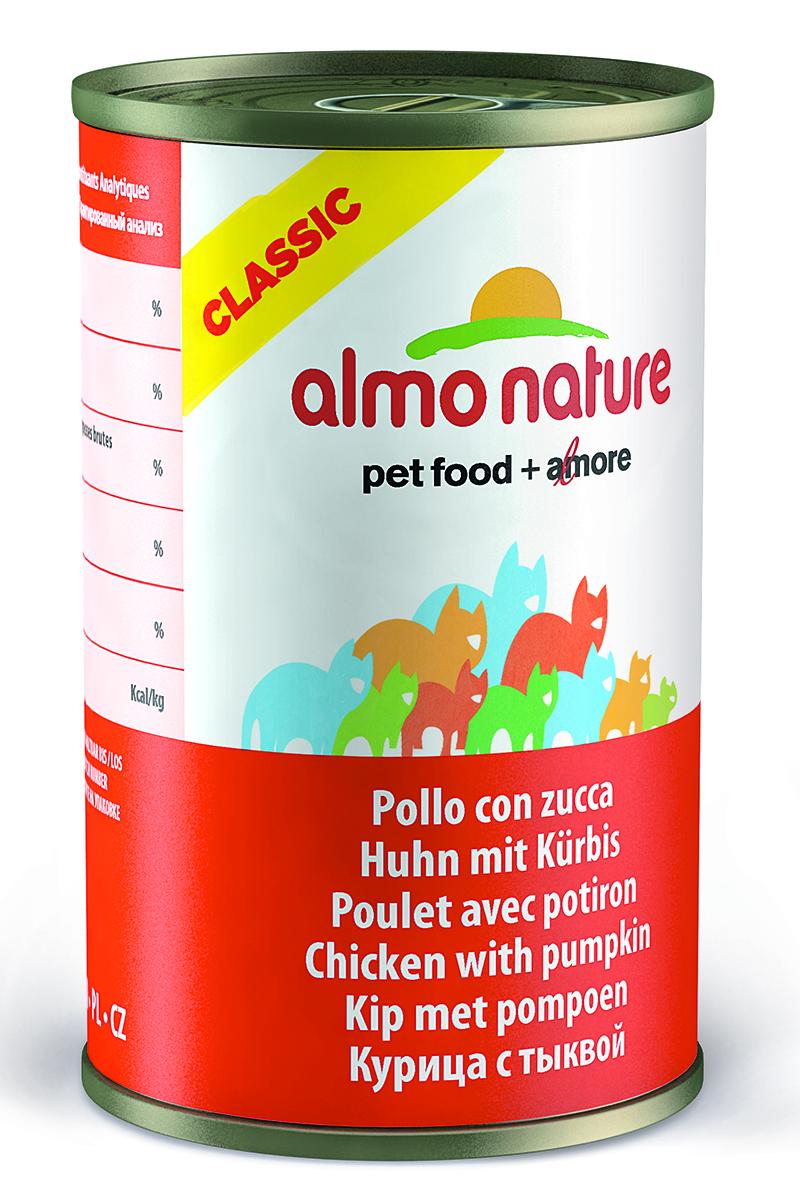 Консервы для кошек Almo Natureс Classic, с курицей и тыквой, 140 г25042Консервы Almo Nature Classic - сбалансированный влажный корм для кошек, изготовленный из ингредиентов высшего качества, являющихся натуральными источниками витаминов и питательных веществ. Состав: куриное филе 50%, куриный бульон 42%, тыква 5%, рис 3%. Гарантированный анализ: белок – 12%, клетчатка - 0,5%, жиры – 0,5%, зола – 2%, влажность - 84%. Калорийность – 460 ккал/кг. Товар сертифицирован.