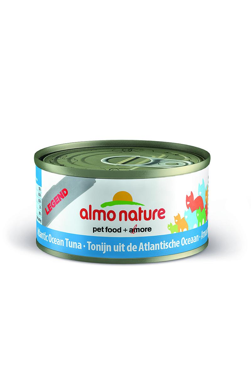 Консервы для Кошек с Атлантическим Тунцом 75% мяса (Legend Adult Cat Atlantic Tuna), 70 г.26494Состав: мясо Атлантического тунца 75%, куриный бульон 24%, рис 1%. Гарантированный анализ: белки – 20%, клетчатка – 1%, жиры – 0,5%, зола – 2%, влажность – 80%. Калорийность - 742 ккал/кг