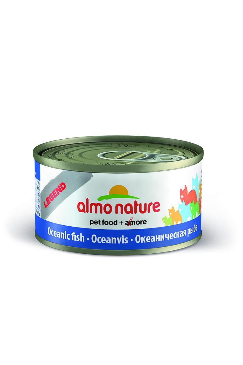 Консервы для кошек Almo Nature Legend, с океанической рыбой, 70 г26497Консервы Almo Nature Legend - сбалансированный влажный корм для кошек, изготовленный из ингредиентов высшего качества, являющихся натуральными источниками витаминов и питательных веществ. Консервы Almo Nature Legend изготавливаются по уникальной технологии, в процессе которой ингредиенты упаковываются в свежем сыром виде, затем проходят термическую обработку прямо в упаковке, что позволяет сохранить все питательные вещества и прекрасный вкус и аромат. Состав: скумбрия 45%, мясо белой рыбы 30%, рыбный бульон 24%, рис 1%. Гарантированный анализ: белки – 19%, клетчатка – 1%, жиры – 1%, зола – 2%, влажность – 78%. Калорийность - 750 ккал/кг. Товар сертифицирован.