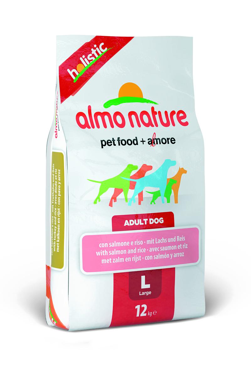 Корм сухой Almo Nature Holistic для взрослых собак крупных пород, с лососем, 12 кг10154Полнорационный корм Almo Nature Holistic рекомендован для взрослых собак крупных пород. Корм содержит большой процент свежей рыбы, что обеспечивает необходимым количеством питательных веществ и оптимальным содержанием протеина. Прекрасный вкус обеспечивается за счет свежих натуральных ингредиентов. Не содержит искусственных добавок, красителей, ароматизаторов, консервантов. Состав: мясо лосося - 54% (из которых 26% свежего филе лосося, 27% дегидрированного мяса), злаки, экстракт растительного белка, овощи, масла и жиры, дрожжи, минеральные вещества, аннанолигосахариды (MOS) и фруктоолигосахариды (ФОС), витамин А - 26760 МЕ/кг, витамин D3 - 1800 МЕ/кг, витамин Е - 200 мг/кг. Микроэлементы: витамин A 22000 IU/кг, витамин D3 1400 IU/кг, витамин E 300 мг/кг, витамин B1 12 мг/кг, витамин B2 14 мг/кг, кальций D-пантотенат 20 мг/кг, витамин B6 12 мг/кг, витамин B12 0,15 мг/кг, биотин 0,50 мг/кг, ниацин 25 мг/кг, фолиевая кислота 1 мг/кг, L-карнитин 500...