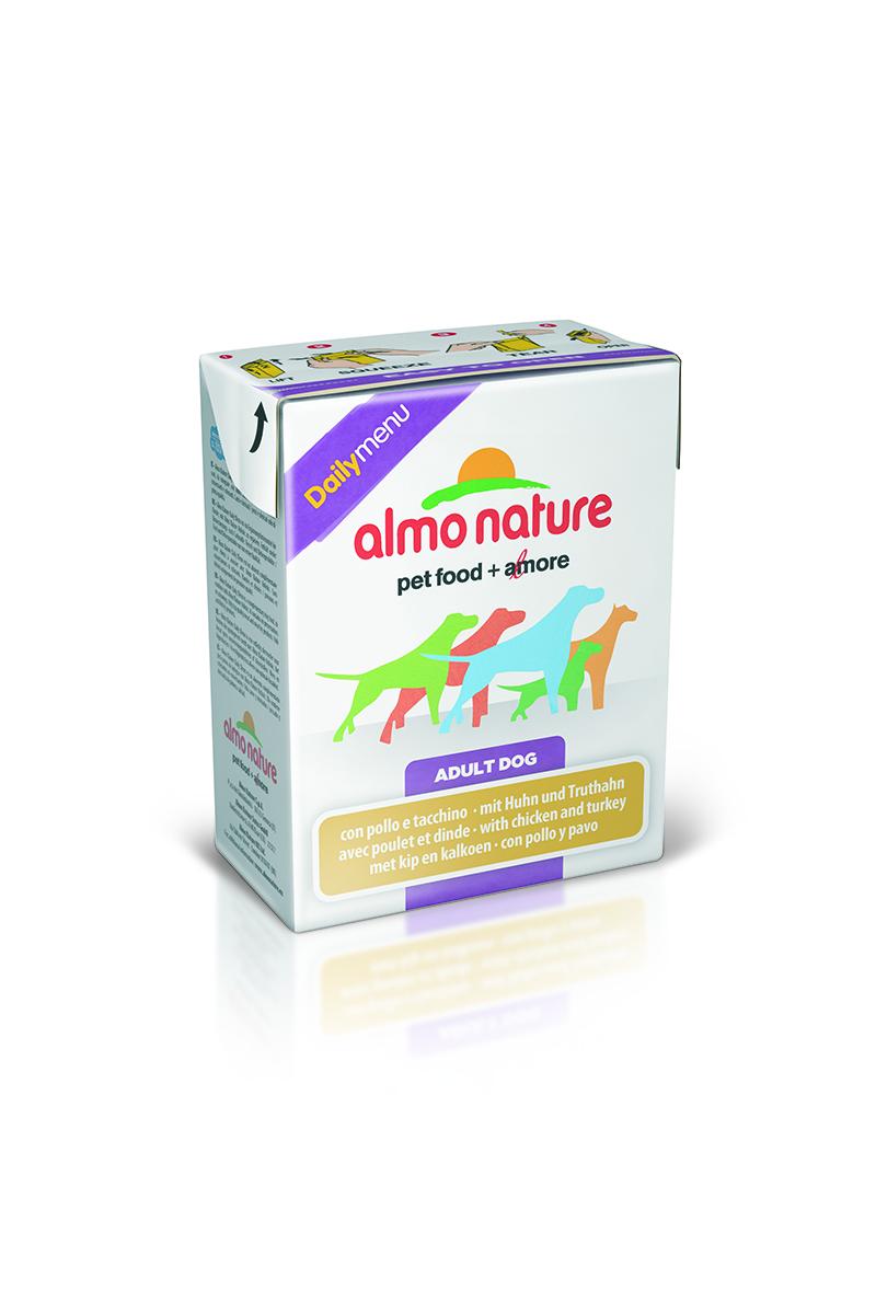 Консервы для собак Almo Nature Daily Menu, с курицей и индейкой, 375 г10156Almo Nature Daily Menu - это повседневный консервированный корм для собак, приготовленный из натуральных ингредиентов самого высокого качества и содержащий витамины и минералы. Не содержит гормоны, антибиотики, искусственные красители, ароматизаторы, консерванты, ГМО. Состав: мясо и его производные (курица – 43,5%, индейка – 4,1%), мясной бульон, рис – 9%, морковь – 1,6%, зеленый горошек – 1,6%, витамин Е – 33мг/кг. Гарантированный анализ: белки – 7%, клетчатка – 0,33%, жиры – 6%, зола – 1%, влажность – 84%. Калорийность – 1710 ккал/кг. Товар сертифицирован.