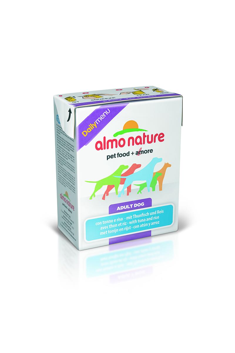 Консервы для собак Almo Nature Daily Menu, с тунцом и рисом, 375 г10158Almo Nature Daily Menu - это повседневный консервированный корм для собак, приготовленный из натуральных ингредиентов самого высокого качества и содержащий витамины и минералы. Не содержит гормоны, антибиотики, искусственные красители, ароматизаторы, консерванты, ГМО. Состав: курица и ее производные (курица – 39%), рыба и ее производные (тунец - 15%), натуральный бульон, рис – 3,7%, витамин Е – 33 мг/кг. Гарантированный анализ: белки – 10%, клетчатка – 0,2%, жиры – 5%, зола – 2%, влажность – 78%. Товар сертифицирован.