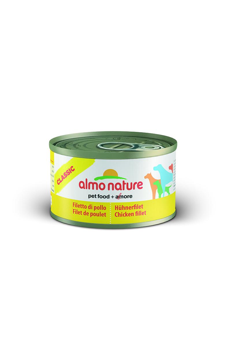 Консервы для собак Almo Nature Classic, с куриным филе, 95 г10179Консервы Almo Nature Classic - сбалансированный влажный корм для собак, изготовленный из ингредиентов высшего качества, являющихся натуральными источниками витаминов и питательных веществ. Состав: куриное филе - 50%, куриный бульон - 47%, рис - 3%. Гарантированный анализ: белки - 17%, клетчатка - 1%, жиры - 0,5%, зола - 3%, влажность - 81%. Калорийность - 637 ккал/кг. Товар сертифицирован.