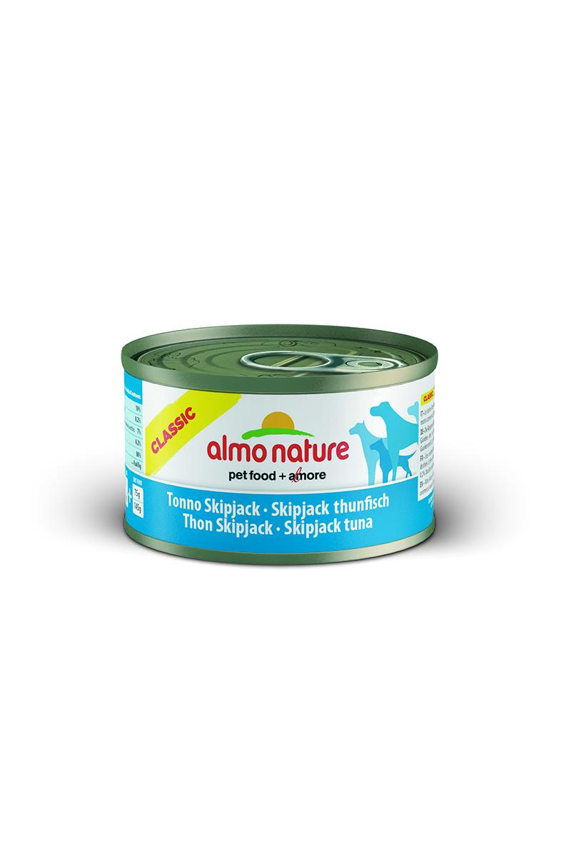 Консервы для собак Almo Nature Classic, с полосатым тунцом, 95 г10183Консервы Almo Nature Classic - сбалансированный влажный корм для собак, изготовленный из ингредиентов высшего качества, являющихся натуральными источниками витаминов и питательных веществ. Состав: полосатый тунец - 50% мин., рис - 3% мин., гуаровая камедь - 0,2%, бульон из тунца. Гарантированный анализ: белки - 10%, клетчатка - 0,2%, жиры - 7%, зола - 0,5%, влажность - 80%. Калорийность - 532 ккал/кг. Товар сертифицирован.