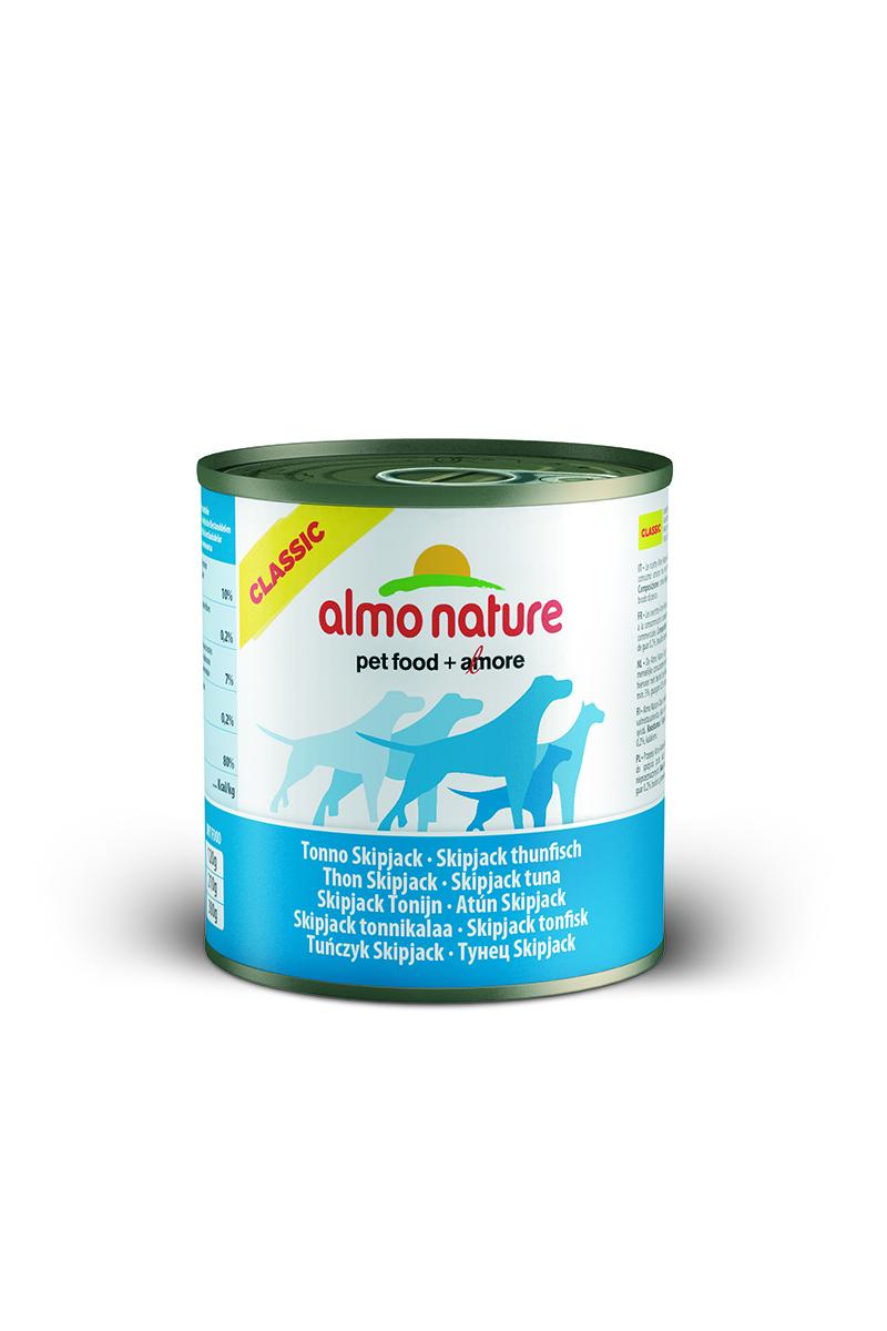 Консервы для собак Almo Nature Classic, с полосатым тунцом, 290 г10184Консервы Almo Nature Classic - сбалансированный влажный корм для собак, изготовленный из ингредиентов высшего качества, являющихся натуральными источниками витаминов и питательных веществ. Состав: полосатый тунец – 50% мин., рис – 3% мин., гуаровая камедь – 0,2%, бульон из тунца. Гарантированный анализ: белки – 10%, клетчатка – 0,2%, жиры – 7%, зола – 0,5%, влажность – 80%. Калорийность - 532 ккал/кг. Товар сертифицирован.