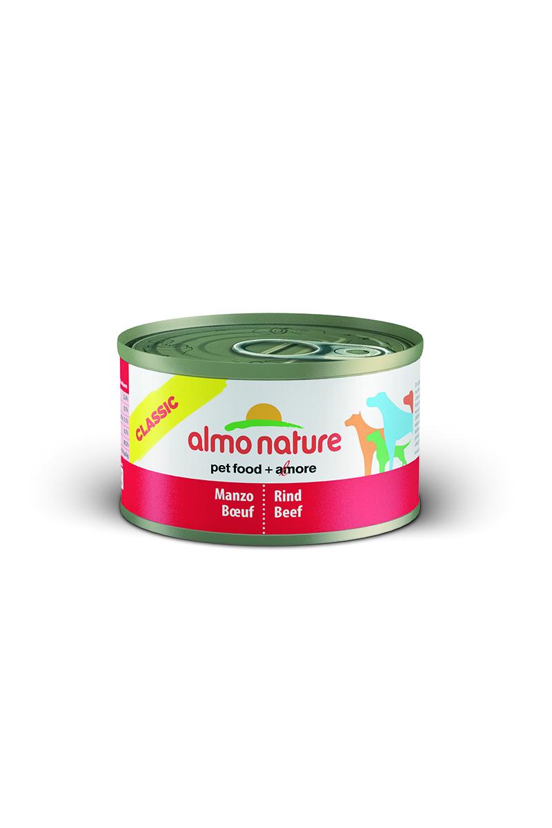 Консервы для кошек Almo Nature Classic, с говядиной, 95 г10185Консервы Almo Nature Classic - это супер-премиум корм для кошек в банке с ключом, которая сохраняет свежесть каждого кусочка. Корм изготовлен только из свежих высококачественных натуральных ингредиентов, что обеспечивает здоровье вашей кошки. Не содержит ГМО, антибиотиков, химических добавок, консервантов и красителей. Состав: вырезка говядины – 50%, рис – 3%, гуаровая камедь – 0,2%, говяжий бульон. Гарантированный анализ: белки – 12%, клетчатка – 0,2%, жиры – 9%, зола – 0,5%, влажность – 76%. Калорийность - 1500 ккал/кг. Товар сертифицирован.