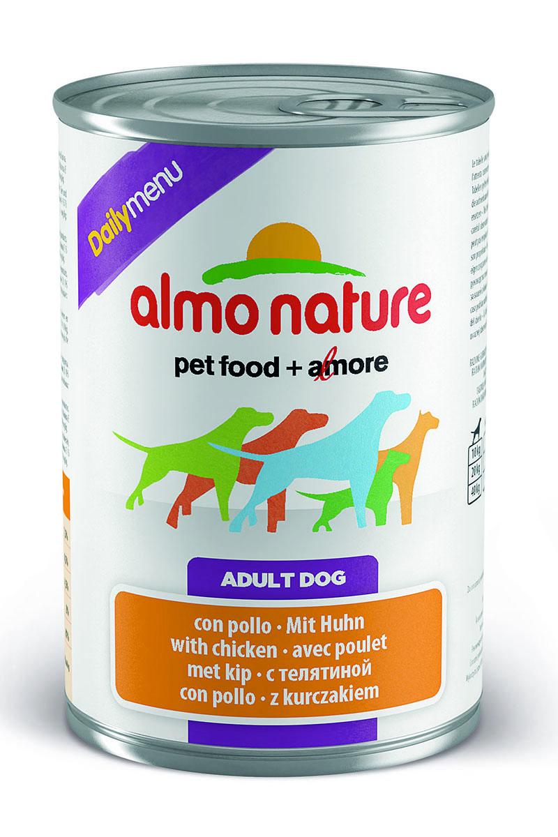 Консервы для собак Almo Nature Daily Menu, с курицей, 400 г10227Консервы Almo Nature Daily Menu - сбалансированный влажный корм для собак, изготовленный из ингредиентов высшего качества, являющихся натуральными источниками витаминов и питательных веществ. Состав: мясо и его производные (из них мясо курицы не менее 4%), зерновые, экстракт растительных белков, минералы. Пищевые добавки: витамин D3 709 МЕ/кг, витамин E 424 мг/кг. Гарантированные анализ: белки - 10%, клетчатка 0,5%, жиры - 5%, зола - 2,5%, влага - 81%. Калорийность - 890 ккал/кг. Товар сертифицирован.