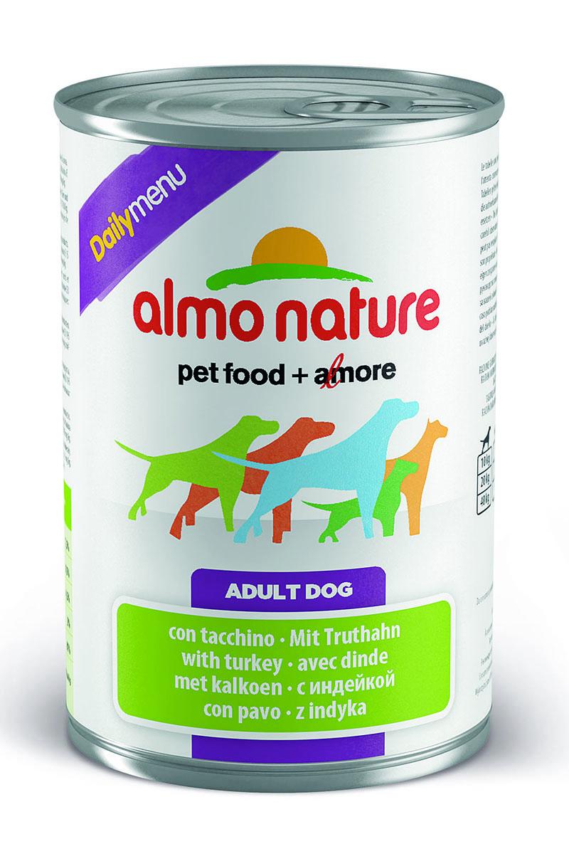 Консервы для собак Almo Nature Daily Menu, с индейкой, 400 г10228Консервы Almo Nature Daily Menu - сбалансированный влажный корм для собак, изготовленный из ингредиентов высшего качества, являющихся натуральными источниками витаминов и питательных веществ. Состав: мясо и его производные (индейка 4%), злаки, яйца и яичные продукты, минеральные вещества. Пищевые добавки: витамин А 1570 МE/кг, витамин D3 195 МE/кг, витамин Е 15 мг/кг, сульфат меди пентагидрат 7.6 мг/кг (CU1,9 мг/кг), камедь кассии 3000 мг/кг. Гарантированные анализ: белки - 7,5%, клетчатка - 0,5%, жиры - 4,5%, зола - 2%, влага - 81%. Калорийность - 1100 ккал/кг. Товар сертифицирован.