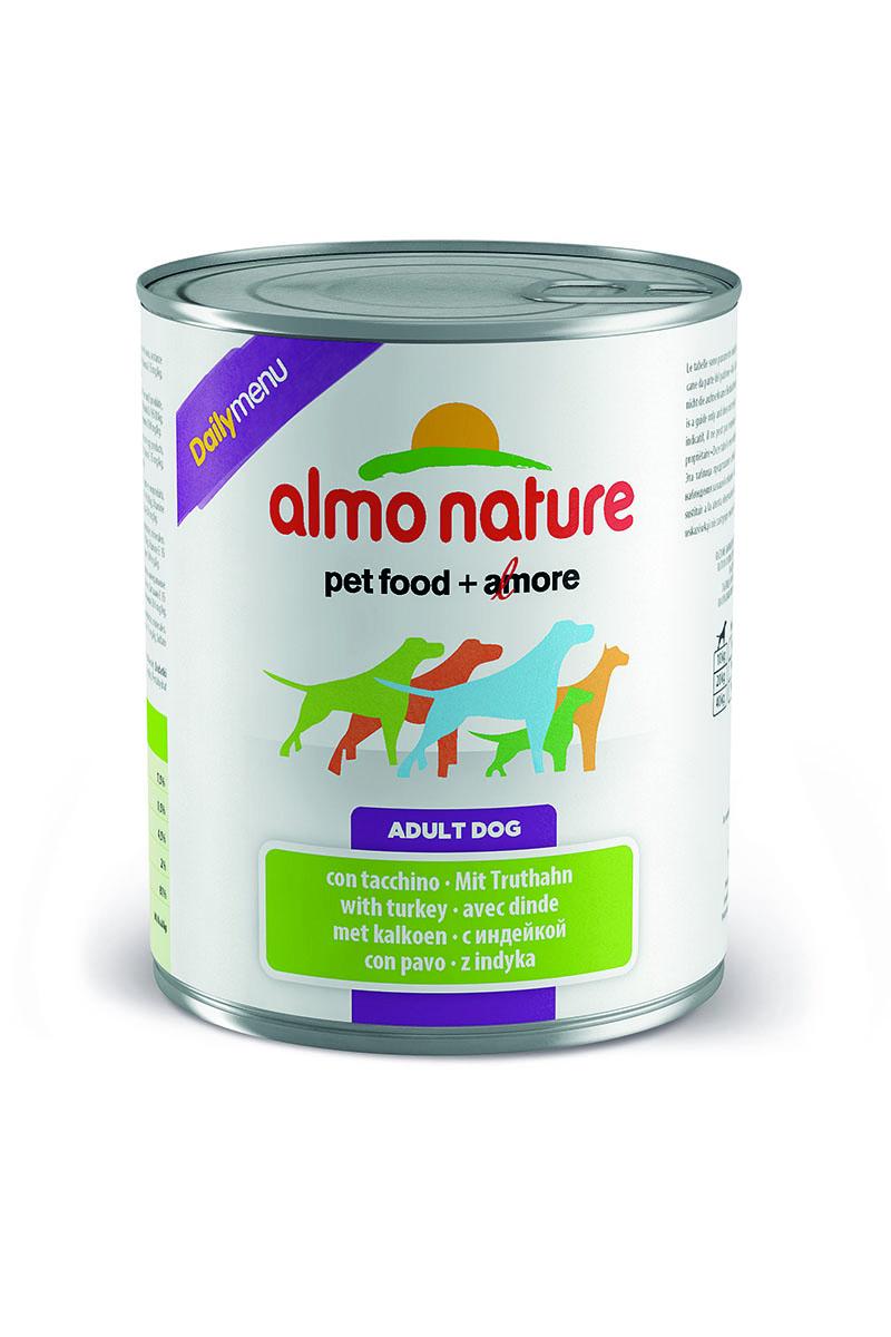 Консервы для собак Almo Nature Daily Menu, с индейкой, 800 г10231Консервы Almo Nature Daily Menu - сбалансированный влажный корм для собак, изготовленный из ингредиентов высшего качества, являющихся натуральными источниками витаминов и питательных веществ. Состав: мясо и его производные (индейка 4%), злаки, яйца и яичные продукты, минеральные вещества. Пищевые добавки: витамин А 1570 МЕ/кг, витамин D3 195 МЕ/кг, витамин Е 15 мг/кг, сульфат меди пентагидрат 7.6 мг/кг (CU1,9 мг/кг), камедь кассии 3000 мг/кг. Гарантированные анализ: белки – 7,5%, клетчатка – 0,5%, жиры – 4,5%, зола – 2%, влага – 81%. Калорийность – 1100 ккал/кг. Товар сертифицирован.