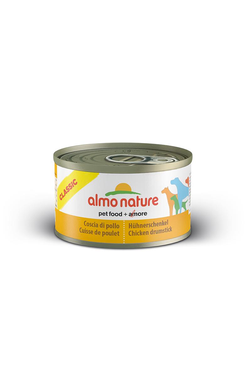 Консервы для собак Almo Nature Classic, куриные бедрышки, 95 г10357Консервы Almo Nature Classic - сбалансированный влажный корм для собак, изготовленный из ингредиентов высшего качества, являющихся натуральными источниками витаминов и питательных веществ. Состав: куриные бедрышки 55%, бульон 42%, рис 3%. Пищевая ценность: белки 13,3%, клетчатка 0,1%, жиры 3,8%, зола 0,5%, влажность 79%. Калорийность: 894 ккал/кг. Товар сертифицирован.