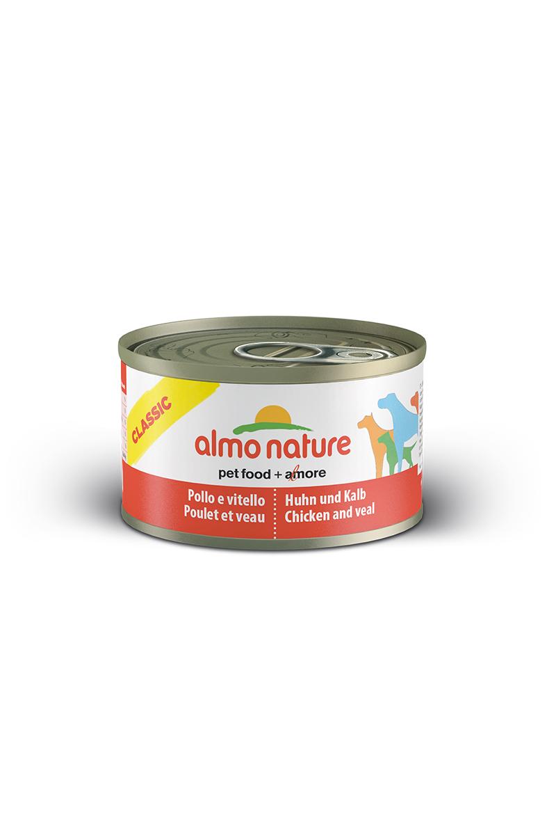 Консервы для собак Almo Nature Classic, с курицей и телятиной, 95 г10359Консервы Almo Nature Classic - сбалансированный влажный корм для собак, изготовленный из ингредиентов высшего качества, являющихся натуральными источниками витаминов и питательных веществ. Состав: бульон - 42%, курица - 27,5%, телятина - 27,5%, рис - 3%. Пищевая ценность: белки - 15%, клетчатка - 0,1%, масла и жиры - 5,1%, зола - 0,7%, влажность - 75%. Калорийность - 1021ккал/кг. Товар сертифицирован.