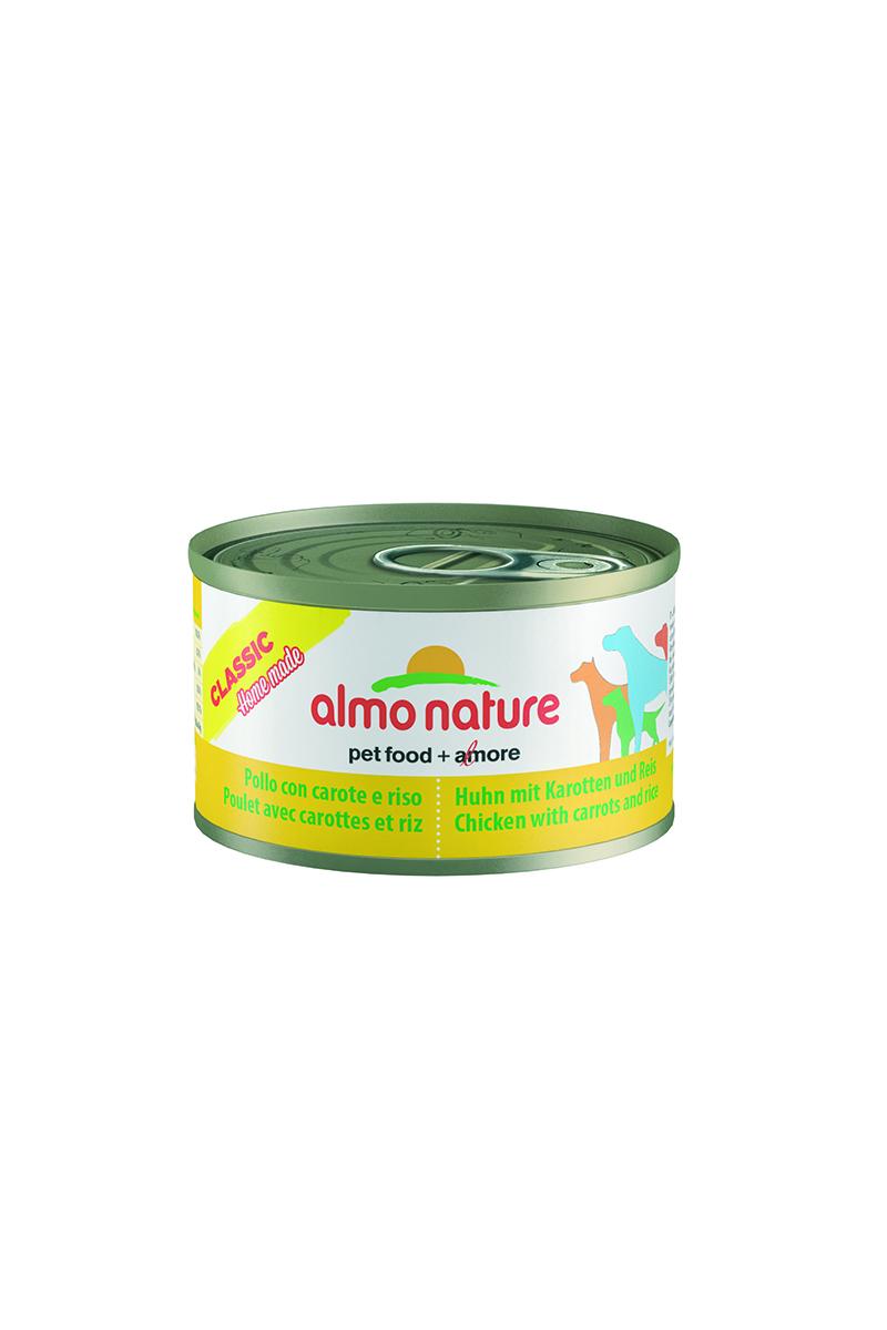 Консервы для собак Almo Nature Classic, курица с морковью и рисом по-домашнему, 95 г10361Консервы Almo Nature Classic - сбалансированный влажный корм для собак, изготовленный из ингредиентов высшего качества, являющихся натуральными источниками витаминов и питательных веществ. Состав: бульон 48%, курица 35%, морковь 10%, рис 5%, крахмал 2%. Пищевая ценность: белки 10,5%, клетчатка 0,1%, масла и жиры 3%, зола 0,5%, влажность 78,5%. Калорийность: 875 ккал/кг. Товар сертифицирован.
