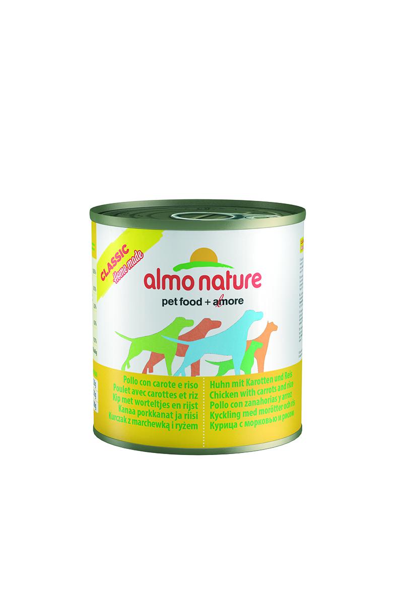 Консервы для собак Almo Nature Classic, курица с морковью и рисом по-домашнему, 280 г10366Консервы Almo Nature Classic - сбалансированный влажный корм для собак, изготовленный из ингредиентов высшего качества, являющихся натуральными источниками витаминов и питательных веществ. Состав: бульон 48%, курица 35%, морковь 10%, рис 5%, крахмал 2%. Пищевая ценность: белки 10,5%, клетчатка 0,1%, масла и жиры 3%, зола 0,5%, влажность 78,5%. Калорийность: 875 ккал/кг. Товар сертифицирован.