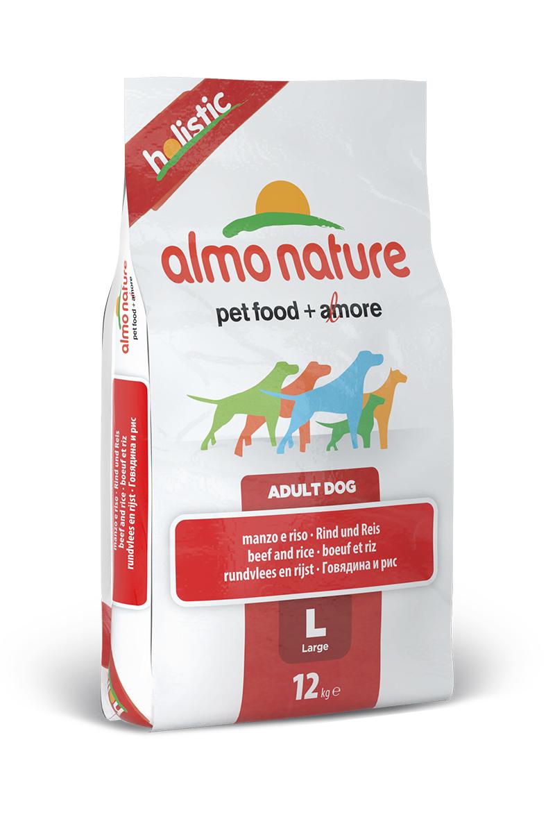 Корм сухой Almo Nature Holistic для взрослых собак крупных пород, с говядиной и коричневым рисом, 12 кг10376Полнорационный корм Almo Nature Holistic рекомендован для взрослых собак крупных пород. Корм содержит большой процент свежего мяса, что обеспечивает необходимым количеством питательных веществ и оптимальным содержанием протеина. Прекрасный вкус обеспечивается за счет свежих натуральных ингредиентов. Не содержит искусственных добавок, красителей, ароматизаторов, консервантов. Состав: мясо и его производные (26% свежей говядины ), злаки ( рис 14%), производные растительного происхождения (Инулин из цикория - источник ФОС-0.1%), экстракт растительного белка, масла и жиры, дрожжи, минералы, мананоолигосахариды, глюкозамин, хондроитин сульфат. Пищевые добавки: витамин A 22000 IU/кг, витамин D3 1400 IU/кг, витамин E 300 мг/кг, витамин B1 12 мг/кг, витамин B2 14 мг/кг, кальций-D-пантотенат 20 мг/кг, витамин B6 12 мг/кг, витамин B12 0,15 мг/кг, биотин 0,50 мг/кг, ниацин 25 мг/кг, фолиевая кислота 1 mg/ kg, L-карнитин 500 мг/кг,сульфат меди пентагидрат...