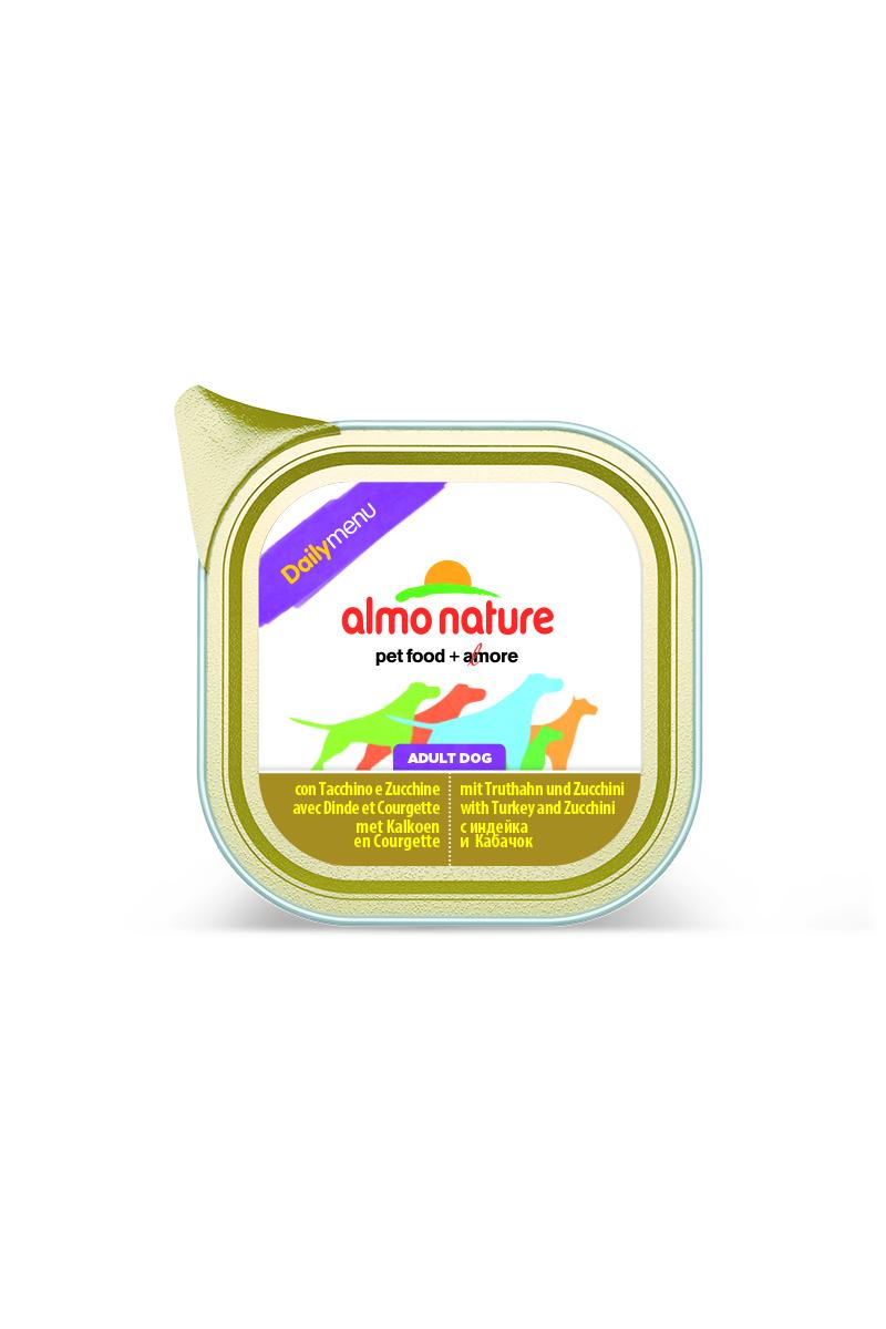 Консервы для собак Almo Nature Daily Menu, с индейкой и цуккини, 100 г19510Консервы Almo Nature Daily Menu - сбалансированный влажный корм для собак, изготовленный из ингредиентов высшего качества, являющихся натуральными источниками витаминов и питательных веществ. Состав: мясо и его производные (индейка 4%), овощи (цуккини 4%), минералы. Добавки: витамин D3 218 МЕ/кг, витамин E 125 мг/кг, витамин B1 62 мг/кг; камедь кассии 2853 мг/кг. Пищевая ценность: белки 10%, клетчатка 0,8%, жиры 5%, зола 2,5%, влажность 81%. Калорийность: 878 ккал/кг. Товар сертифицирован.