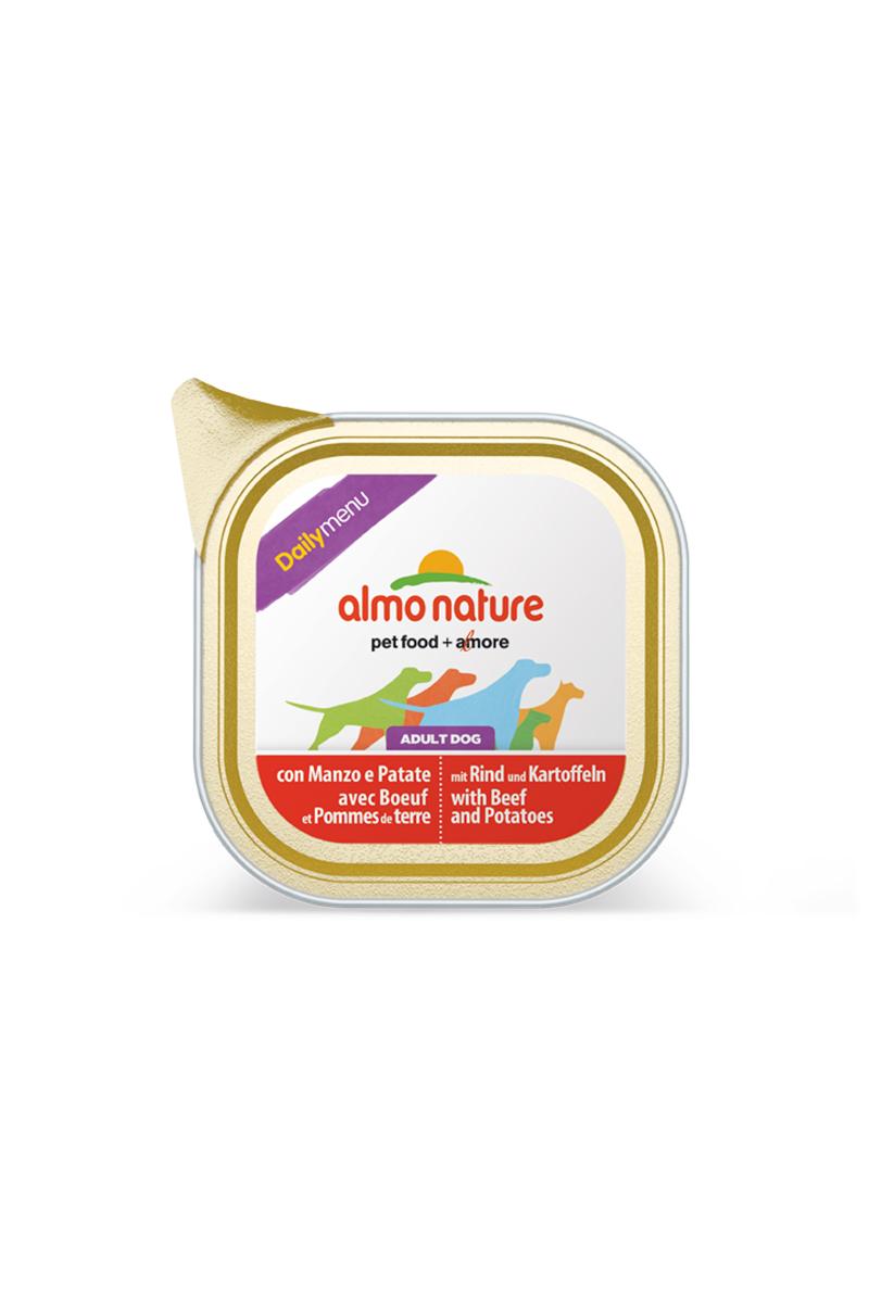 Консервы для собак Almo Nature Daily Menu, с говядиной и картофелем, 300 г19511Консервы Almo Nature Daily Menu - сбалансированный влажный корм для собак, изготовленный из ингредиентов высшего качества, являющихся натуральными источниками витаминов и питательных веществ. Состав: мясо и его производные (говядина 4%), овощи (картофель 4%), минералы. Добавки: витамин D3 218 МЕ/кг, витамин E 125 мг/кг, витамин B1 62 мг/кг, камедь кассии 2853 мг/кг. Пищевая ценность: белки 10%, клетчатка 0,8%, жиры 5%, зола 2,5%, влажность 81%. Калорийность: 878 ккал/кг. Товар сертифицирован.