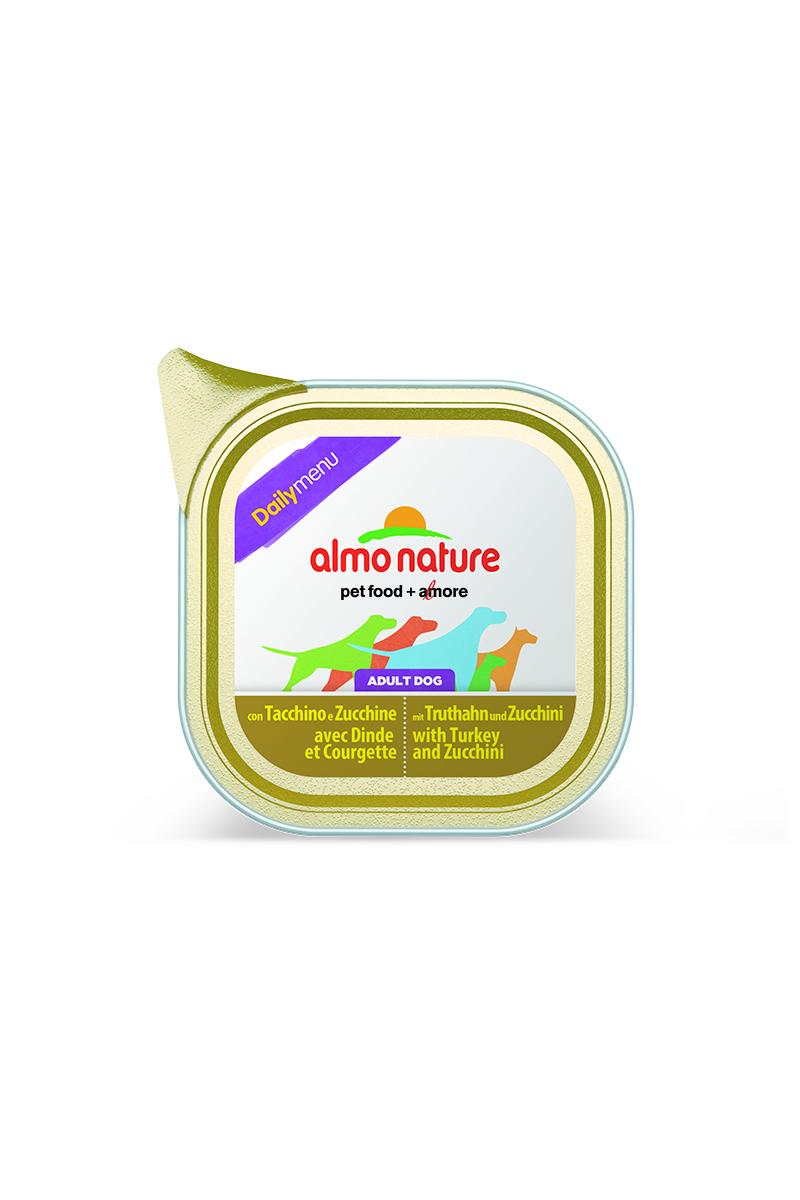 Консервы для собак Almo Nature Daily Menu, с индейкой и цуккини, 300 г19513Консервы Almo Nature Daily Menu - сбалансированный влажный корм для собак, изготовленный из ингредиентов высшего качества, являющихся натуральными источниками витаминов и питательных веществ. Состав: мясо и его производные (индейка 4%), овощи (цуккини 4%), минералы. Добавки: витамин D3 218 МЕ/кг, витамин E 125 мг/кг, витамин B1 62 мг/кг; камедь кассии 2853 мг/кг. Пищевая ценность: белки 10%, клетчатка 0,8%, жиры 5%, зола 2,5%, влажность 81%. Калорийность: 878 ккал/кг. Товар сертифицирован.