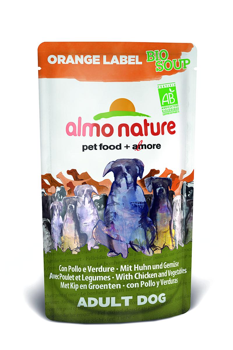 Органик-Суп для Собак с Курицей и Овощами (Orange label BIO Soup Chicken&Vegetables), 140 г.23263Состав: курица и ее производные (из которых курица мин 4%), овощи (морковь и зеленый горошек мин. 4% в соусе), злаки, минералы, экстракт растительного белка. Питательные добавки: Витамин D3 276 МЕ/кг Гарантированный анализ: белки – 7,5%, клетчатка – 0,8%, жиры – 6%, зола – 2%, влажность – 81%. Калорийность – 964 ккал/кг