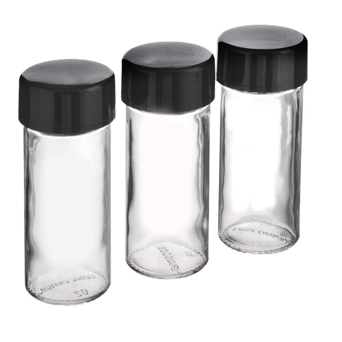Емкости для специй Tescoma Season, цвет: антрацит, 3 шт657076Емкости для специй Tescoma Season предназначены для компактного и организованного хранения специй. Набор состоит из 3 универсальных баночек с крышками для молотых пряностей и 3 запасными колпачками для целых специй. Изготовлены из термостойкого стекла и высококачественного пластика. Можно мыть в посудомоечной машине. Диаметр баночек: 4 см. Высота баночек: 11 см.