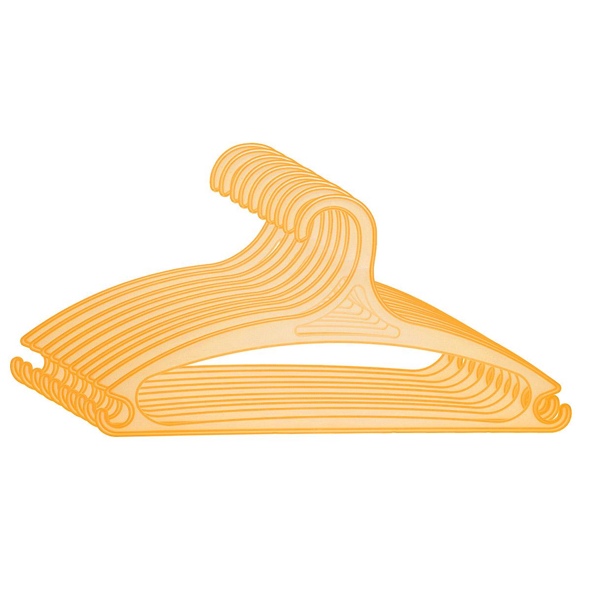 Набор вешалок для одежды MTM Оптима, цвет: оранжевый, 10 шт4154_оранжевыйУниверсальные вешалки для одежды MTM Оптима изготовлены из легкого и гибкого пластика. Изделия оснащены перекладиной и двумя крючками по бокам. Вешалка - это незаменимая вещь для того, чтобы ваша одежда всегда оставалась в хорошем состоянии. Комплектация: 10 шт. Размер вешалки: 39,5 х 20 х 0,5 см.