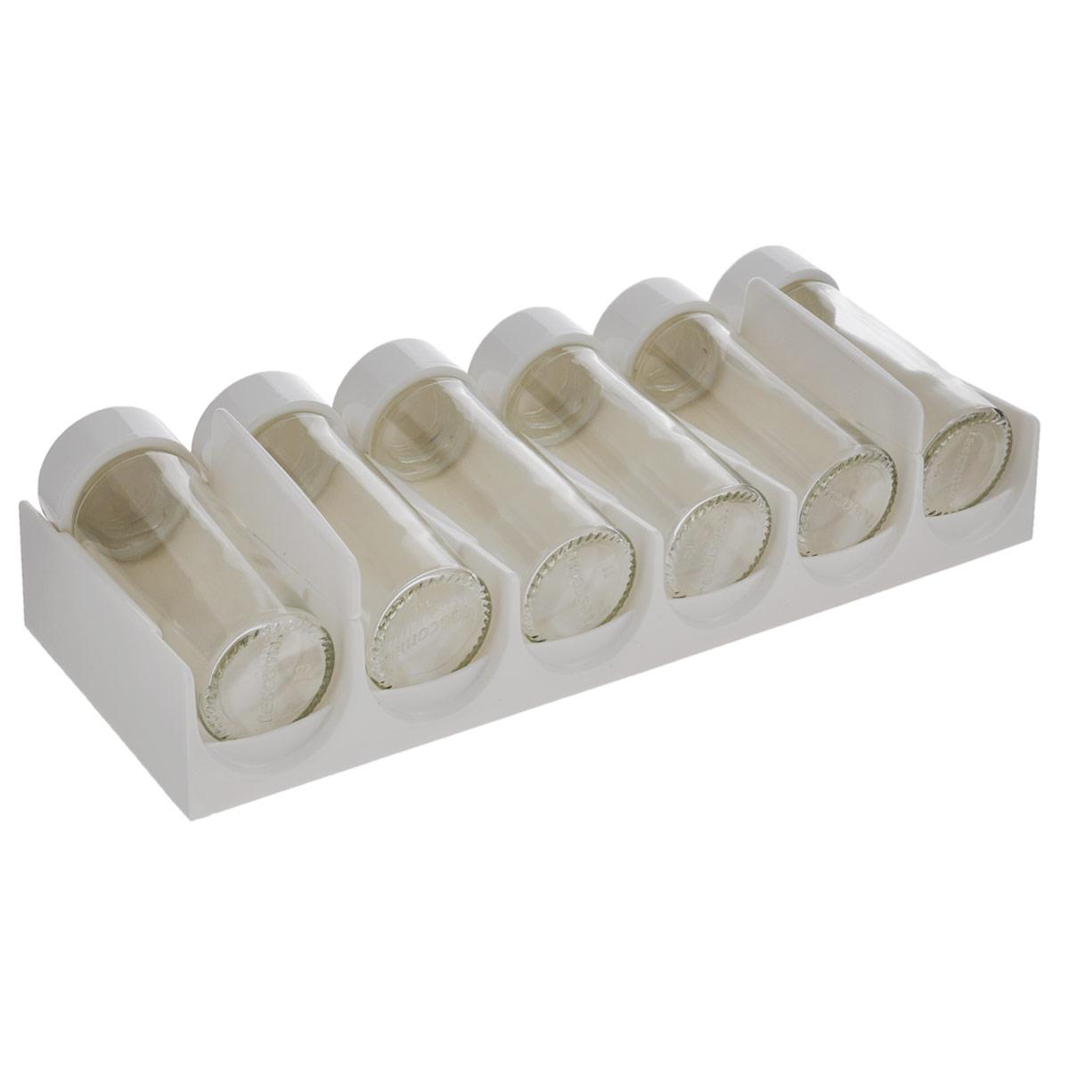 Емкости для специй Tescoma Season, для выдвижного ящика, цвет: белый, 6 шт657020Роскошный комплект емкостей Tescoma Season отлично подходит для хранения специй в ящике кухонного стола. Специи помещаются в горизонтальном положении, благодаря чему хорошо просматривается содержимое. Баночки для специй универсальны, легко вынимаются. Оснащены 6-ю крышками для молотых пряностей и 6-ю запасными колпачками для целых специй. Выполнены емкости из превосходного прочного стекла и высококачественного пластика. Все детали можно мыть в посудомоечной машине, подставку чистить влажной тканью. Диаметр емкостей: 4 см. Высота емкостей: 11 см. Размер подставки: 29 см х 12 см х 7 см.