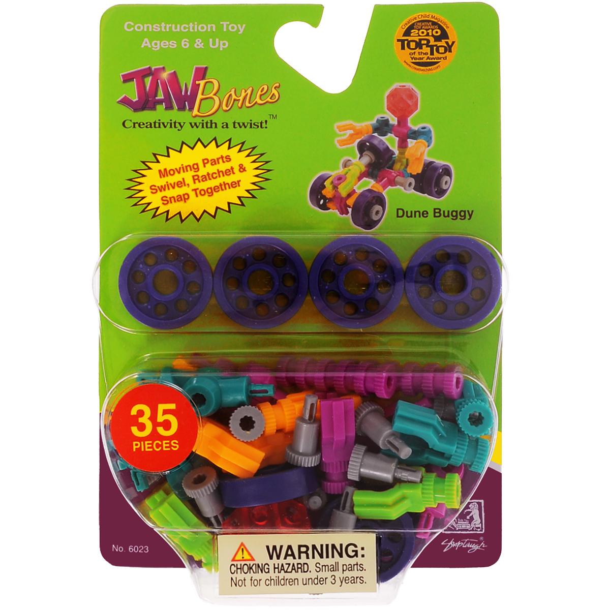 Jawbones Конструктор Пустынный багги 60236023Новый развивающий конструктор Jawbones непременно понравится вашему ребенку! При помощи красочных деталей, с уникальным креплением, можно собрать машинку багги в оригинальном и неповторимом стиле. Конструктор состоит из 35 элементов разного размера, цвета и назначения. Ваш ребенок с удовольствием будет играть с конструктором, придумывая различные истории.