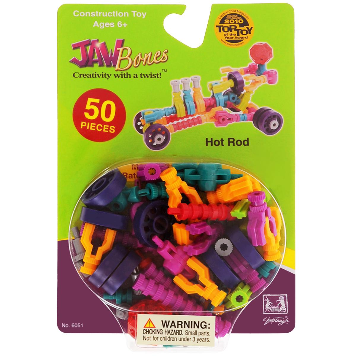 Jawbones Конструктор Гоночная машина6051Новый развивающий конструктор Jawbones непременно понравится вашему ребенку! При помощи красочных деталей, с уникальным креплением, можно собрать гоночную машину в оригинальном и неповторимом стиле. Конструктор состоит из 50 элементов разного размера, цвета и назначения. Ваш ребенок с удовольствием будет играть с конструктором, придумывая различные истории.