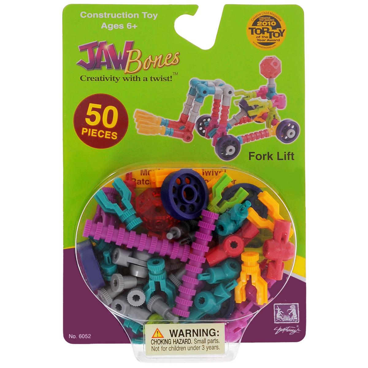 Jawbones Конструктор Погрузчик6052Новый развивающий конструктор Jawbones непременно понравится вашему ребенку! При помощи красочных деталей, с уникальным креплением, можно собрать погрузчик в оригинальном и неповторимом стиле. Конструктор состоит из 50 элементов разного размера, цвета и назначения. Ваш ребенок с удовольствием будет играть с конструктором, придумывая различные истории.