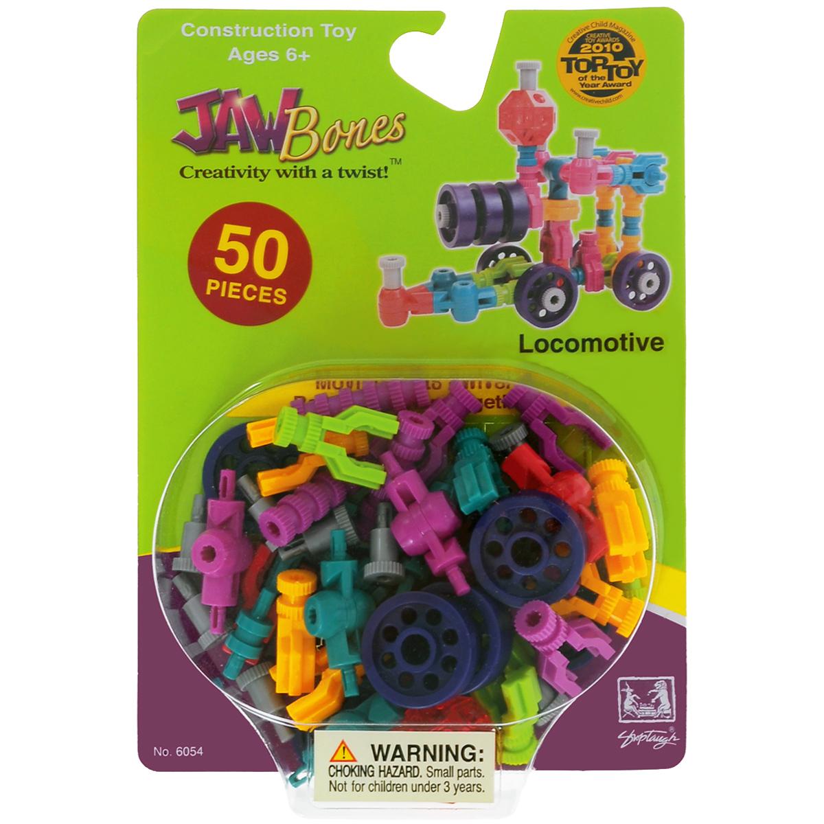 Jawbones Конструктор Паровоз6054Новый развивающий конструктор Jawbones непременно понравится вашему ребенку! При помощи красочных деталей, с уникальным креплением, можно собрать паровоз в оригинальном и неповторимом стиле. Конструктор состоит из 50 элементов разного размера, цвета и назначения. Ваш ребенок с удовольствием будет играть с конструктором, придумывая различные истории.