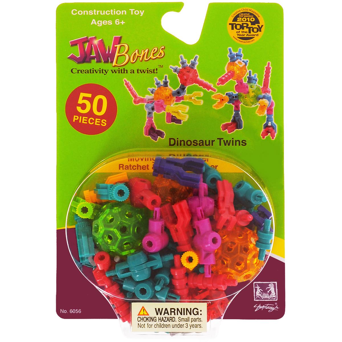 Jawbones Конструктор Динозавры Близнецы6056Новый развивающий конструктор Jawbones непременно понравится вашему ребенку! При помощи красочных деталей, с уникальным креплением, можно собрать динозавров в оригинальном и неповторимом стиле. Конструктор состоит из 50 элементов разного размера, цвета и назначения. Ваш ребенок с удовольствием будет играть с конструктором, придумывая различные истории.