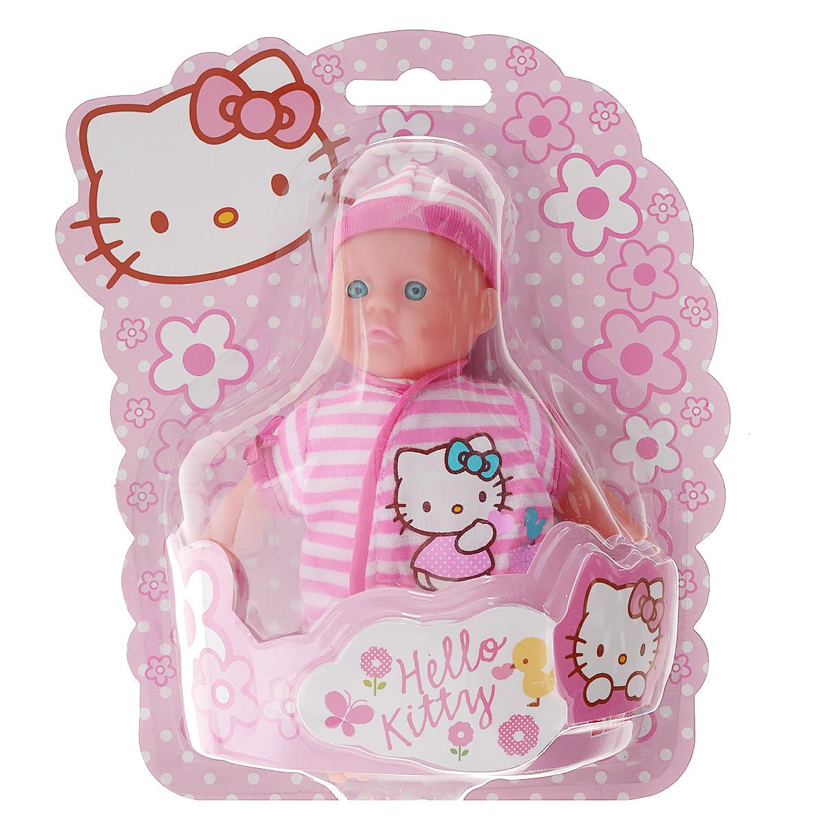 Пупс Simba Hello Kitty, цвет: розовый, 15 см5012766_розовый в полоскуОчаровательный пупс Simba Hello Kitty порадует вашу малышку и доставит ей много удовольствия от часов, посвященных игре с ним. Пупс с голубыми глазками имеет мягконабивное туловище и выглядит как настоящий ребенок. Он одет в розовый комбинезончик и розовую шапочку. Голова, ручки и ножки пупса подвижны. Игра с пупсом разовьет в вашей малышке чувство ответственности и заботы. Порадуйте свою принцессу таким великолепным подарком!