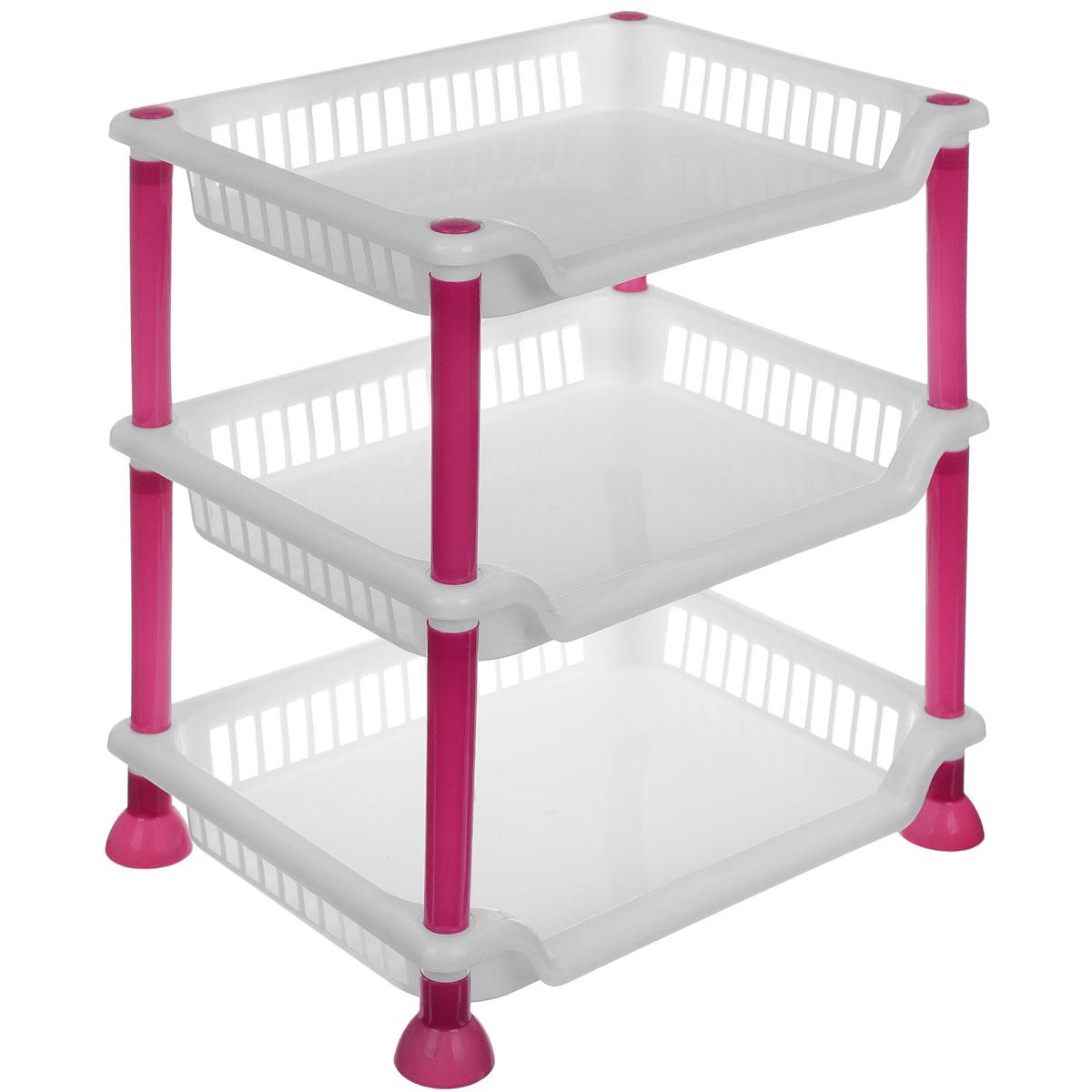 Этажерка Sima-land, 3-секционная, цвет: белый, малиновый, 29 х 21,5 х 33 см799887_белый, малиновыйЭтажерка Sima-land выполнена из высококачественного прочного пластика и предназначена для хранения различных предметов. Изделие имеет 3 полки прямоугольной формы. В ванной комнате вы можете использовать этажерку для хранения шампуней, гелей, жидкого мыла, стиральных порошков, полотенец. Ручной инструмент и детали в вашем гараже всегда будут под рукой. Удобно ставить банки с краской, бутылки с растворителем. В гостиной этажерка позволит удобно хранить под рукой книги, журналы, газеты. С помощью этажерки также легко навести порядок в детской, она позволит удобно и компактно хранить игрушки, письменные принадлежности и учебники. Этажерка - это идеальное решение для любого помещения. Она поможет поддерживать чистоту, компактно организовать пространство и хранить вещи в порядке, а стильный дизайн сделает этажерку ярким украшением интерьера. Размер этажерки: 29 х 21,5 х 33 см. Размер полки: 29 х 21,5 х 4,5 см.