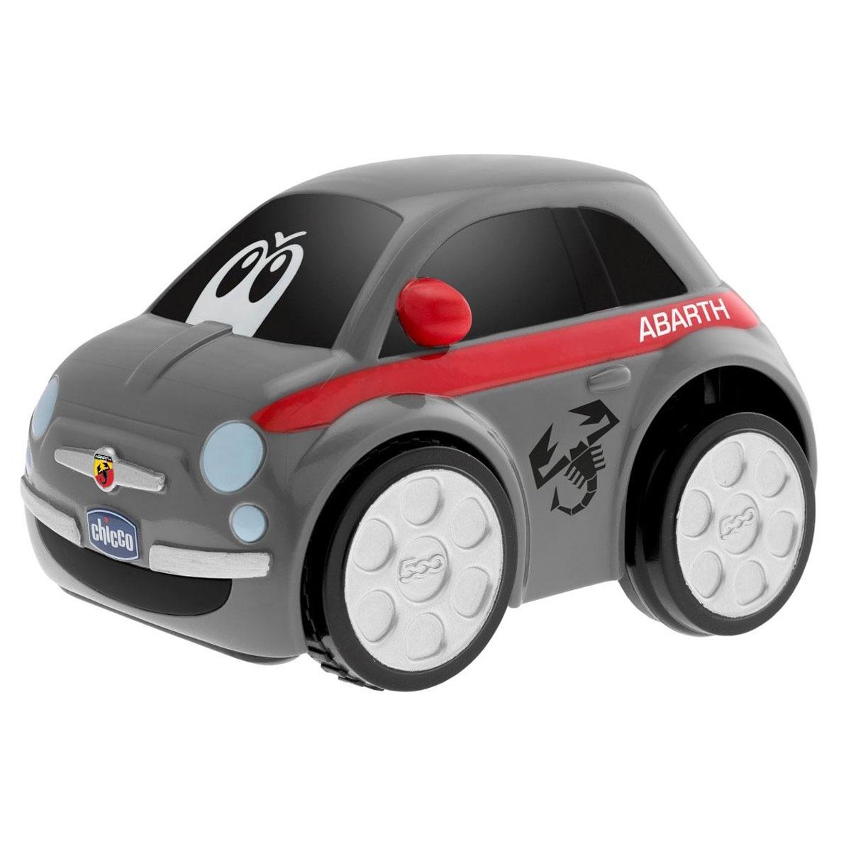Chicco Машинка Fiat Turbo Touc 500 цвет серый00007331000000Chicco Турбо-машина Fiat Turbo Touc 500 идеально подходит для маленьких любителей скорости! На лобовом стекле машинки нарисованы забавные глазки, а по бокам - рисунок силуэта скорпиона. Если просто нажать на спинку машинки, то она разгонится со звуком ревущего мотора, остановится и посигналит. Эта интересная игрушка обязательно вызовет восторг и бурю эмоций у вашего маленького гонщика! Работает от 3 батареек типа AA (входят в комплект).