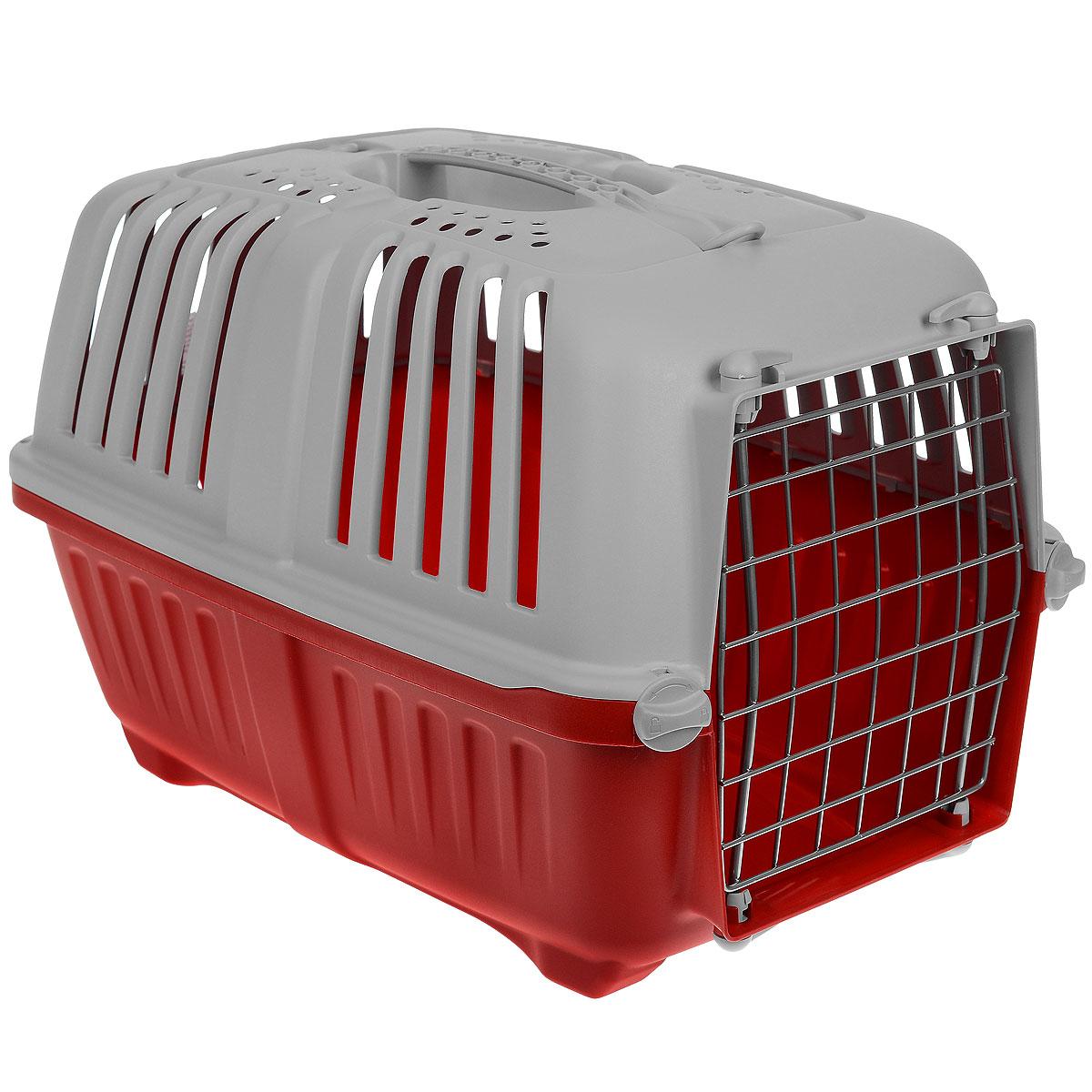 Переноска для животных MPS Pratiko, цвет: красный, серый, 48 см х 31,5 см х 33 смS01140100_красныйПереноска MPS Pratiko, выполненная из легкого пластика, прекрасно подойдет для транспортировки собак и кошек. Дно переноски снабжено устойчивыми ножками. Крышка с отверстиями для вентиляции оснащена влитой ручкой и двумя петлями для крепления ремня. Крышка и металлическая дверь крепится к поддону на поворотные фиксаторы.
