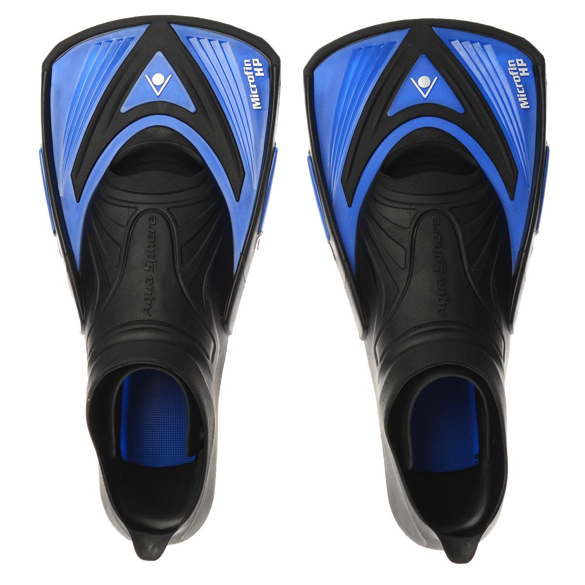 Ласты тренировочные Aqua Sphere Microfin HP, цвет: синий, черный. Размер 36/37TN 221380 (205370)Aqua Sphere Microfin HP - это ласты для энергичной манеры плавания, предназначенные для серьезных спортивных тренировок. Уникальный дизайн ласт обеспечивает достаточное сопротивление воды для силовых тренировок и поддерживает ноги близко к поверхности воды - таким образом, пловец занимает правильное положение, гарантирующее максимальную обтекаемость. Особенности: Галоша с закрытой пяткой выполнена из прочного термопластика. Короткие лопасти удерживают ноги пловца близко к поверхности воды. Позволяют развивать силу мышц и поддерживать их в тонусе, одновременно совершенствуя технику плавания.