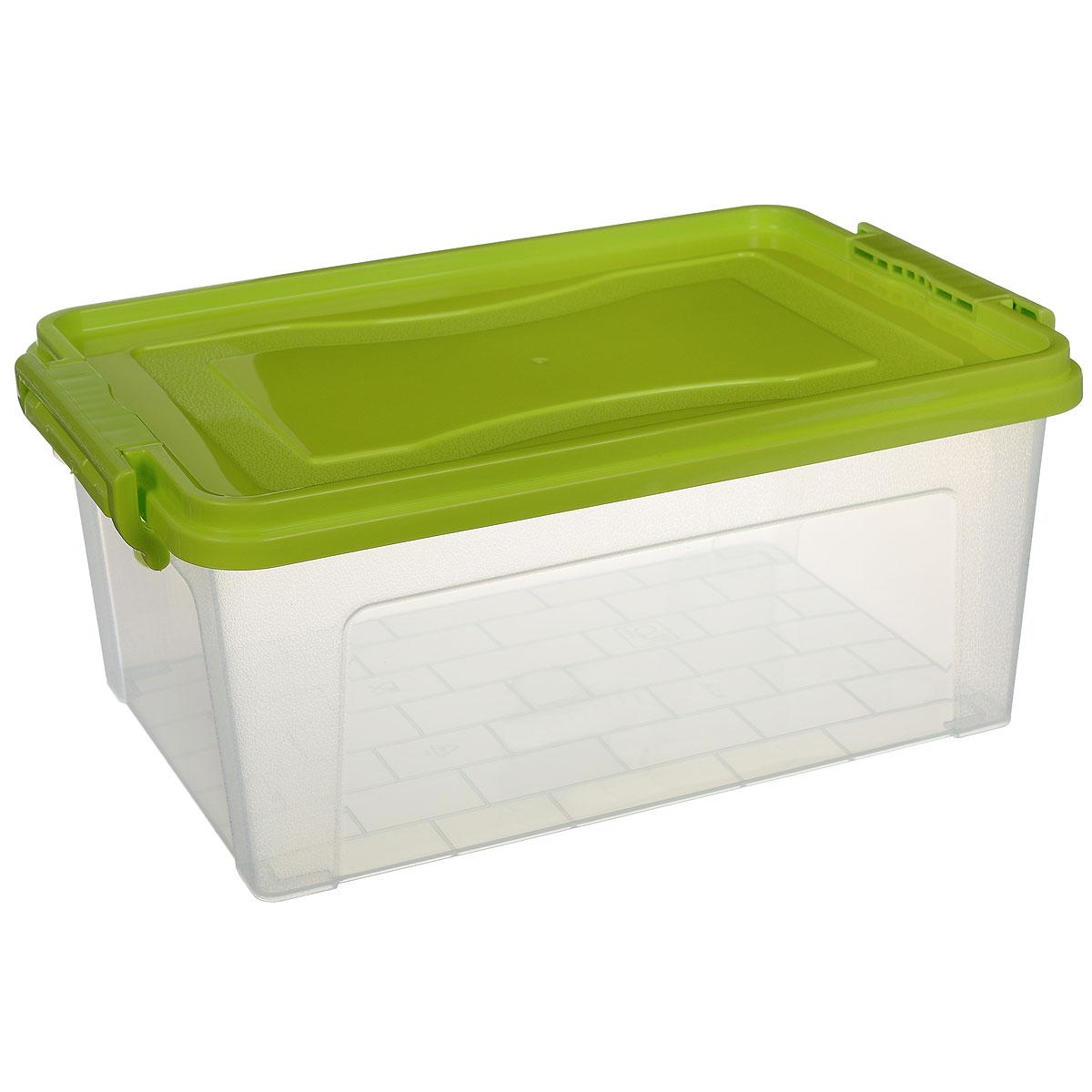 Контейнер для хранения Idea, прямоугольный, цвет: салатовый, прозрачный, 8,5 лМ 2865_салатовыйКонтейнер для хранения Idea выполнен из высококачественного пластика. Изделие оснащено двумя пластиковыми фиксаторами по бокам, придающими дополнительную надежность закрывания крышки. Вместительный контейнер позволит сохранить различные нужные вещи в порядке, а герметичная крышка предотвратит случайное открывание, защитит содержимое от пыли и грязи. Объем: 8,5 л.