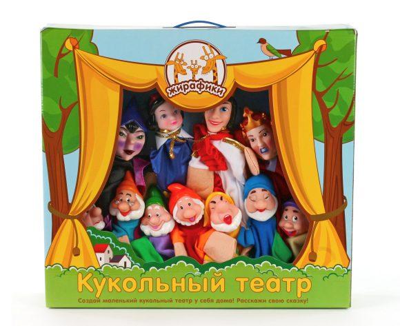 Жирафики Кукольный театр Белоснежка, 11 кукол68352В этой картонной коробке находится настоящий театр кукол. Стоит только достать персонажей, как сказка «Белоснежка» оживет! Смело надевай куклу на руку, пригласи друзей и распредели между ними роли. Играйте спектакли в собственном кукольном театре!